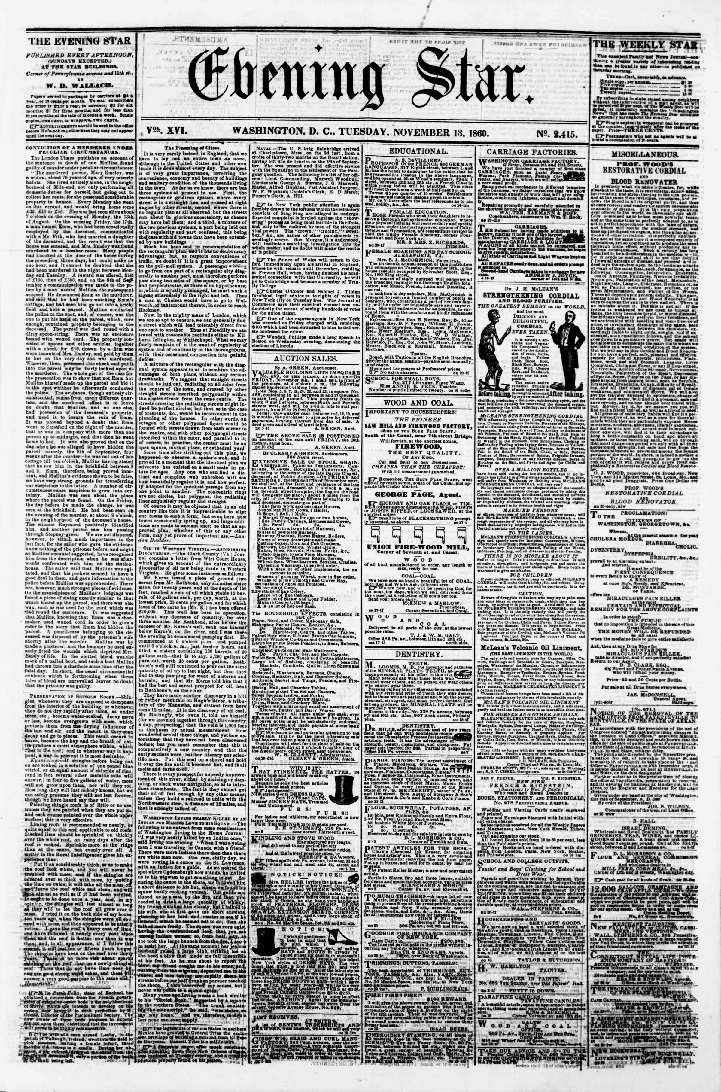 Newspaper of Evening Star dated November 13, 1860 Page 1
