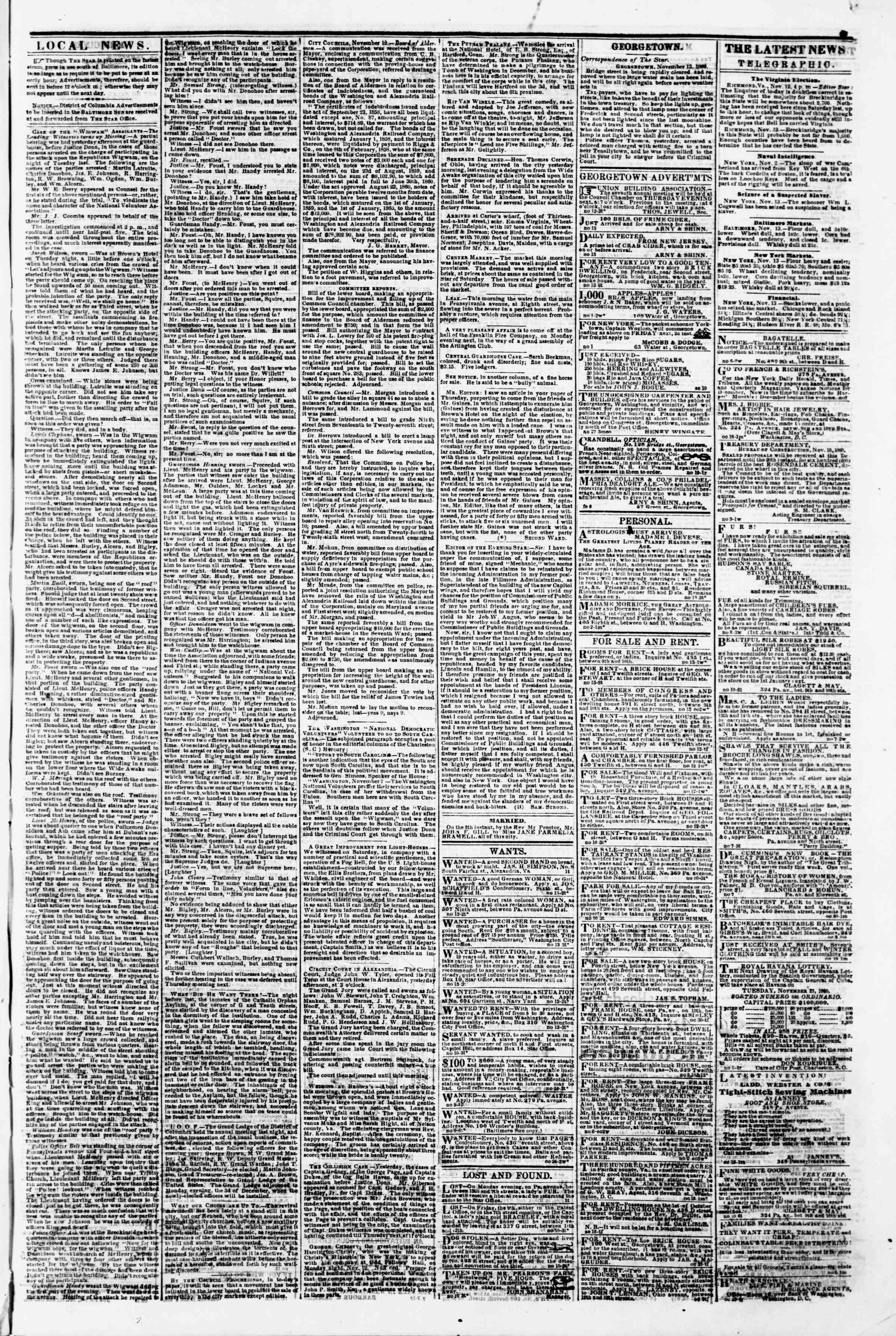 Newspaper of Evening Star dated November 13, 1860 Page 3
