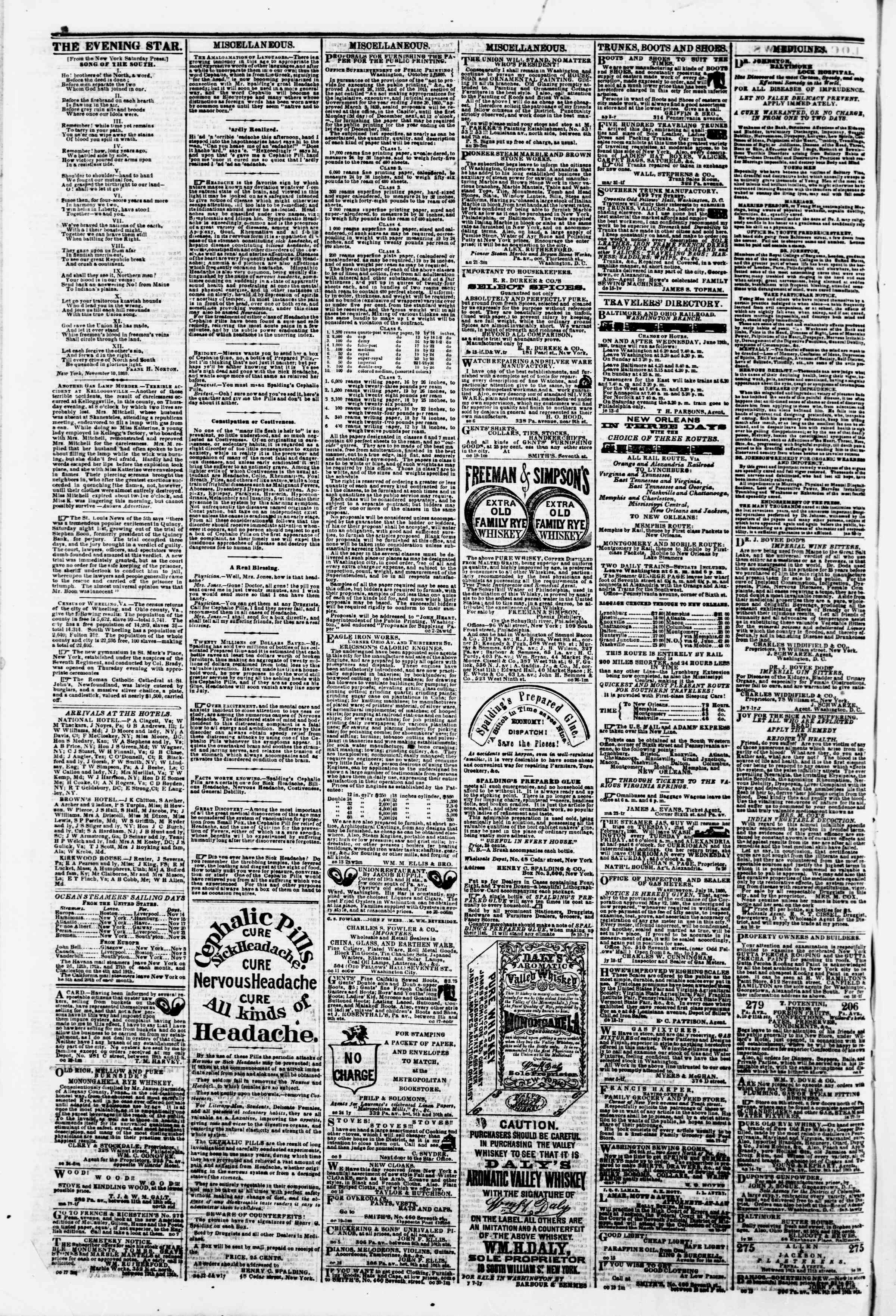Newspaper of Evening Star dated November 13, 1860 Page 4