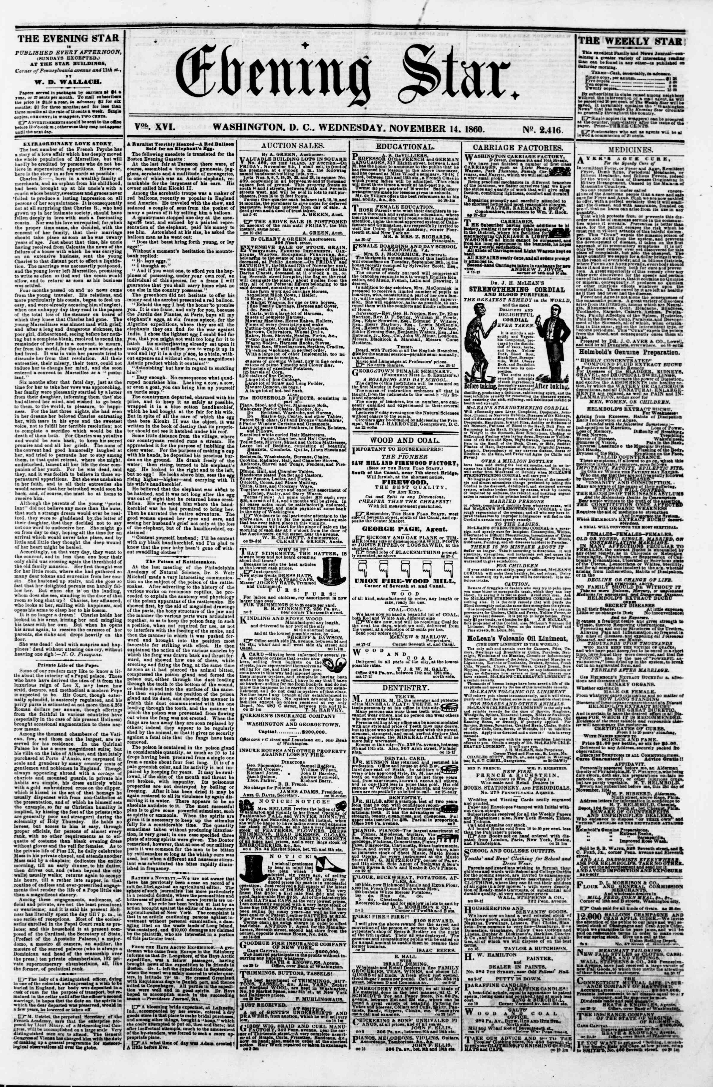 Newspaper of Evening Star dated November 14, 1860 Page 1