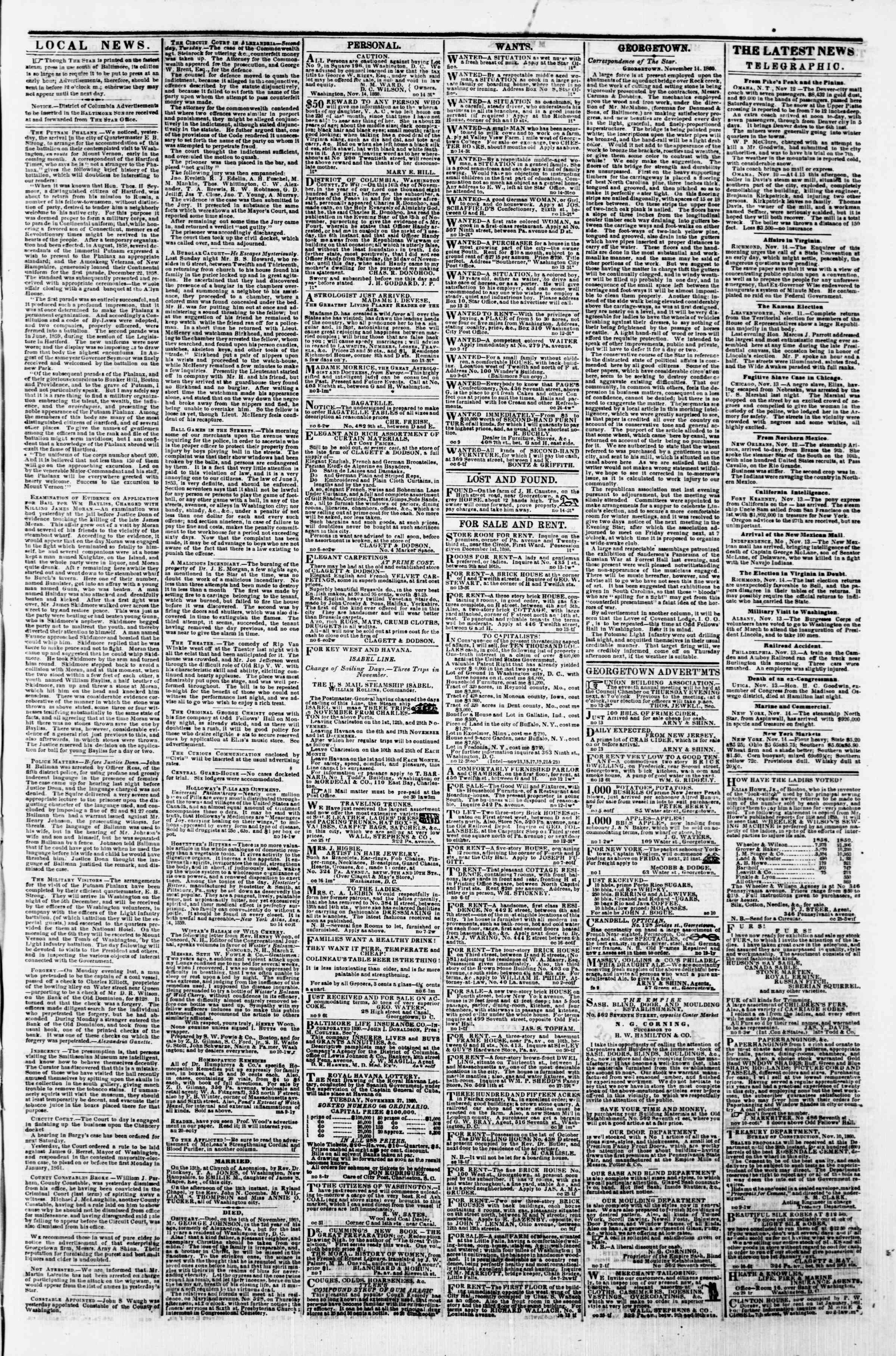Newspaper of Evening Star dated 14 Kasım 1860 Page 3
