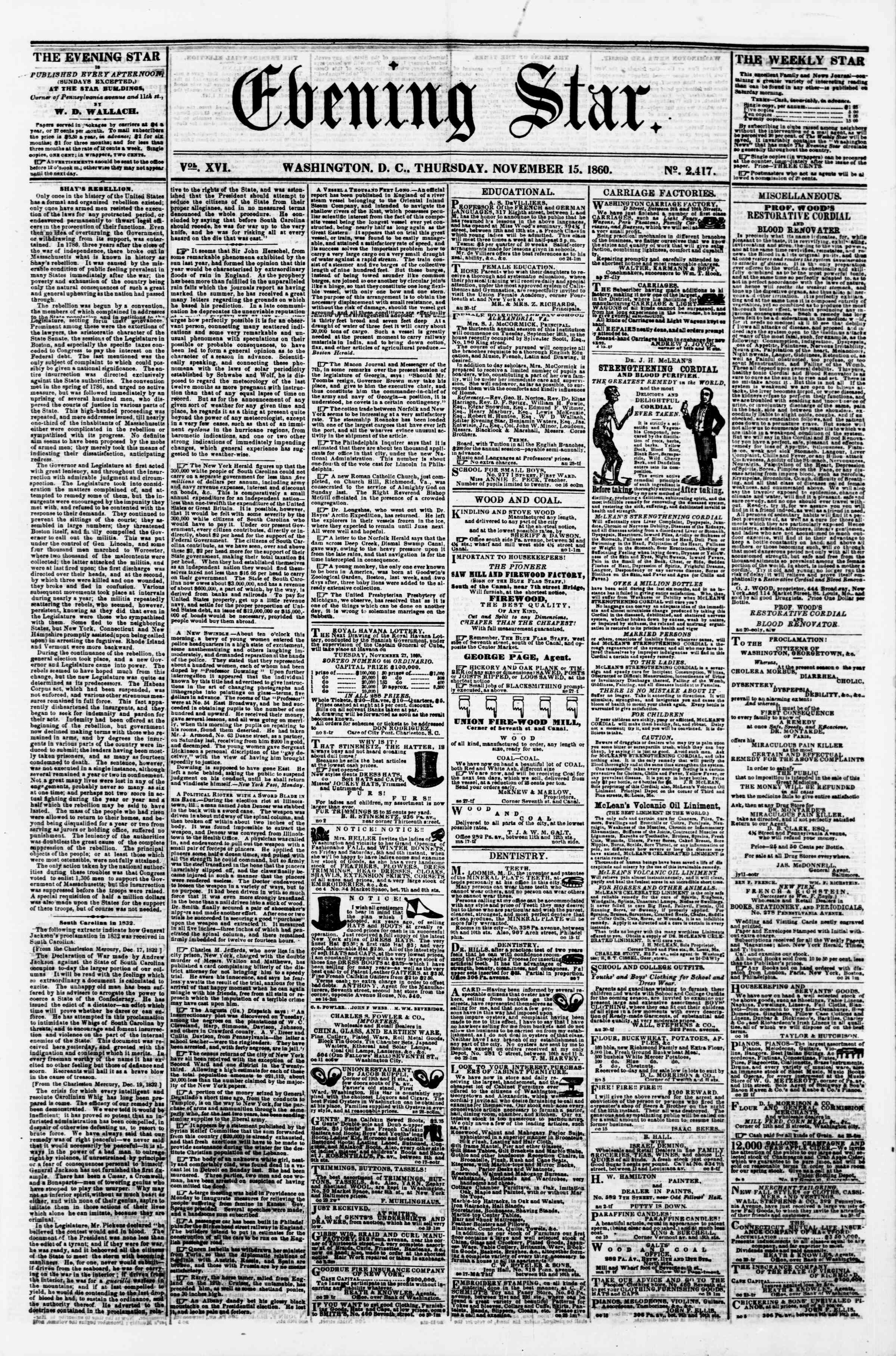 Newspaper of Evening Star dated November 15, 1860 Page 1