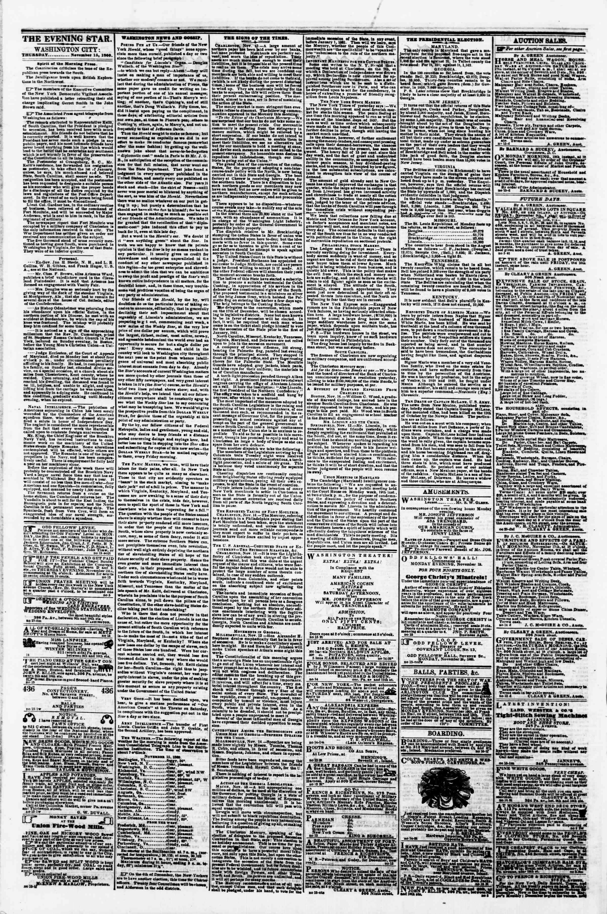 Newspaper of Evening Star dated November 15, 1860 Page 2