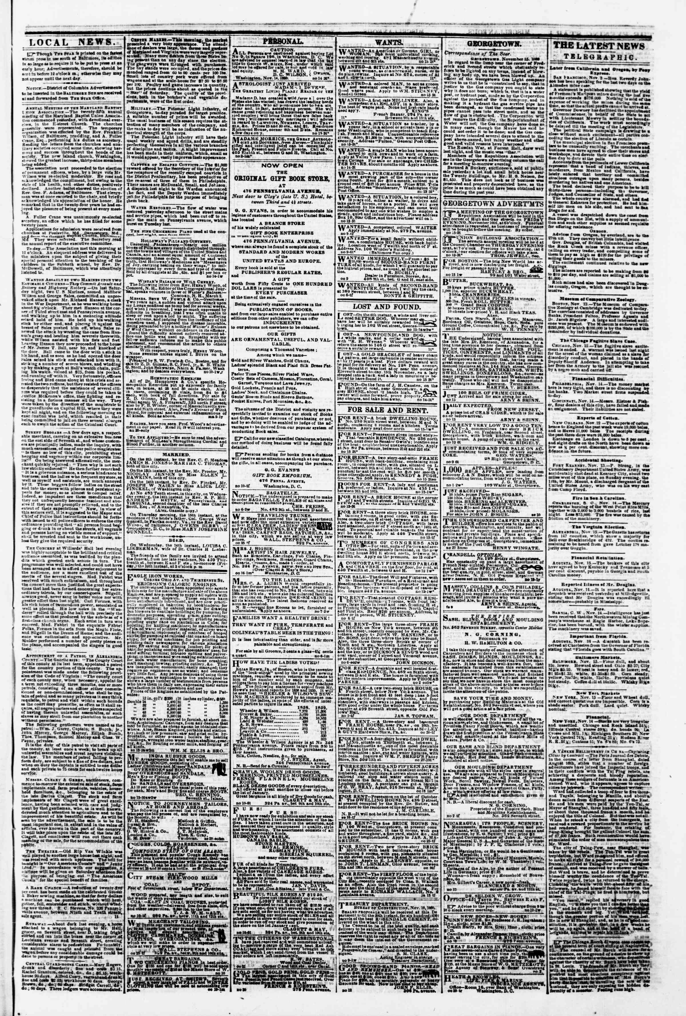 Newspaper of Evening Star dated November 15, 1860 Page 3