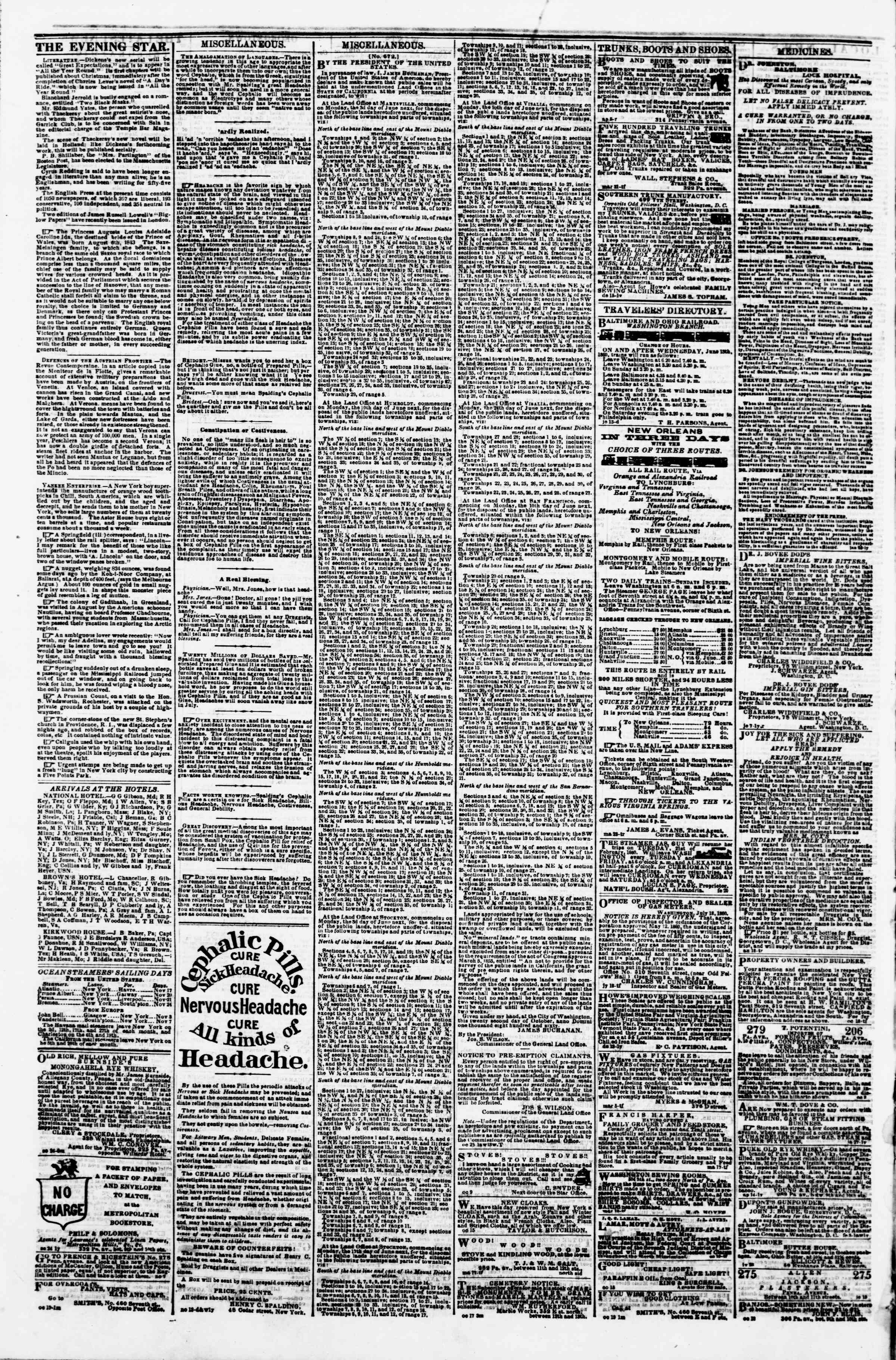 Newspaper of Evening Star dated November 15, 1860 Page 4
