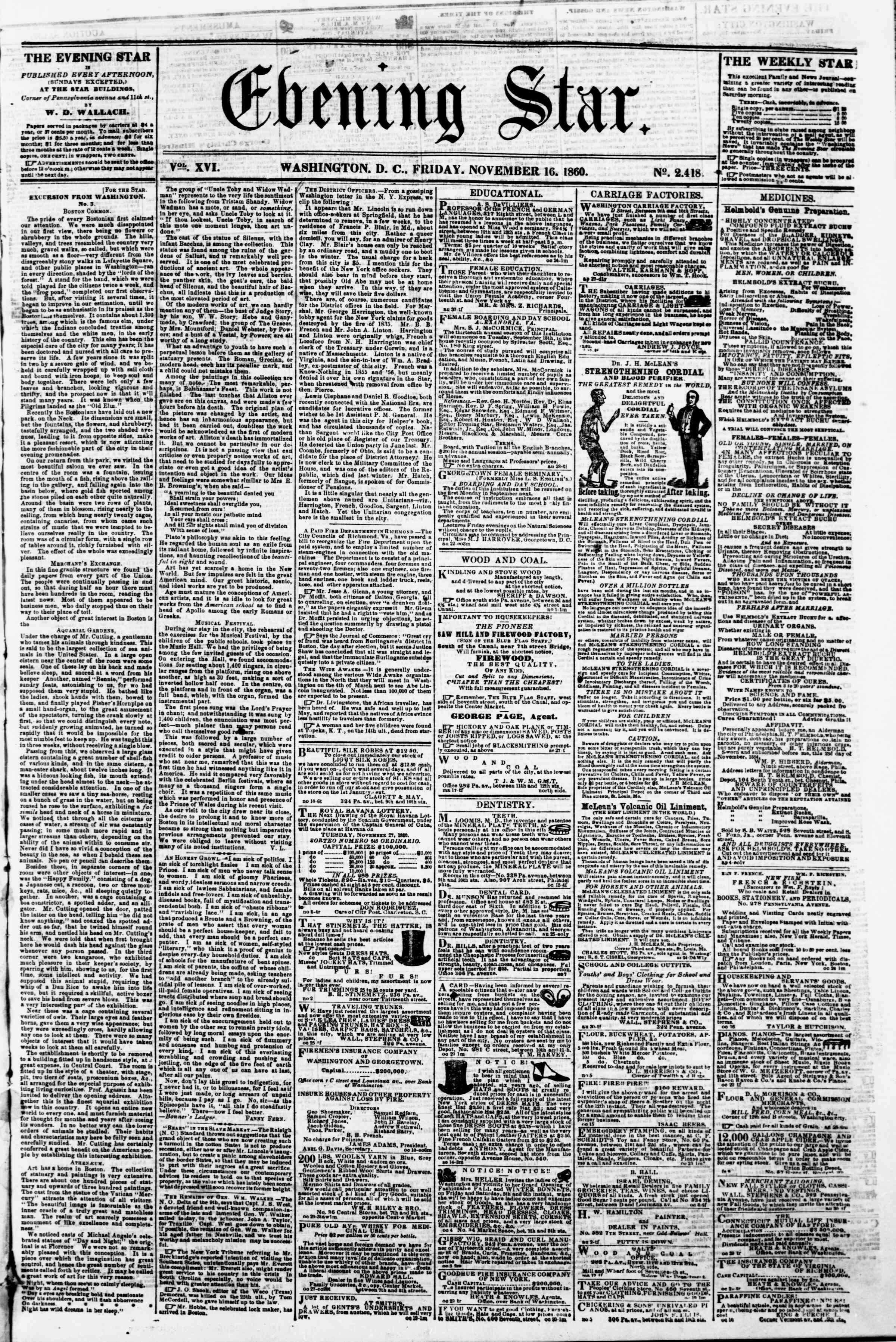 Newspaper of Evening Star dated 16 Kasım 1860 Page 1