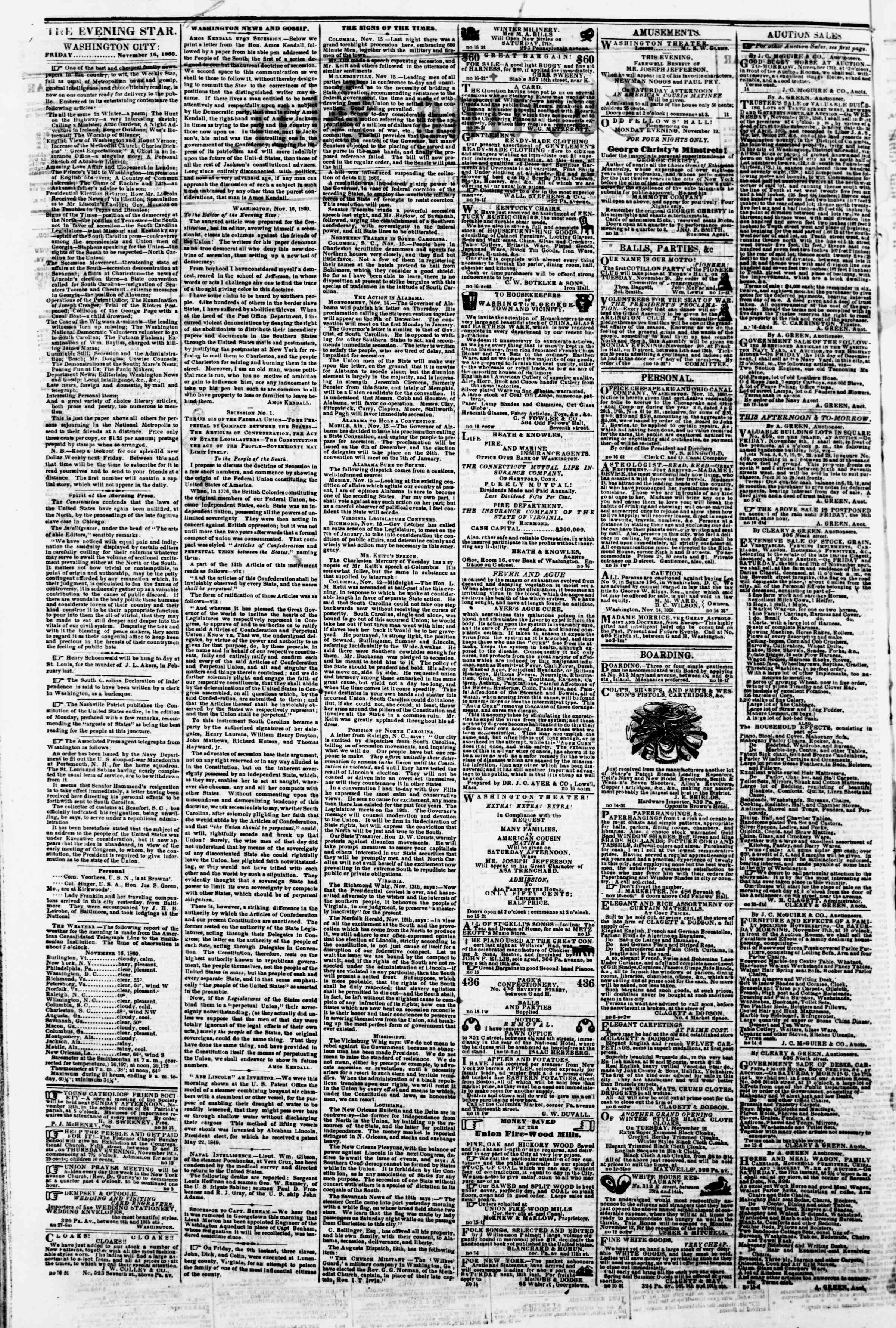 Newspaper of Evening Star dated November 16, 1860 Page 2
