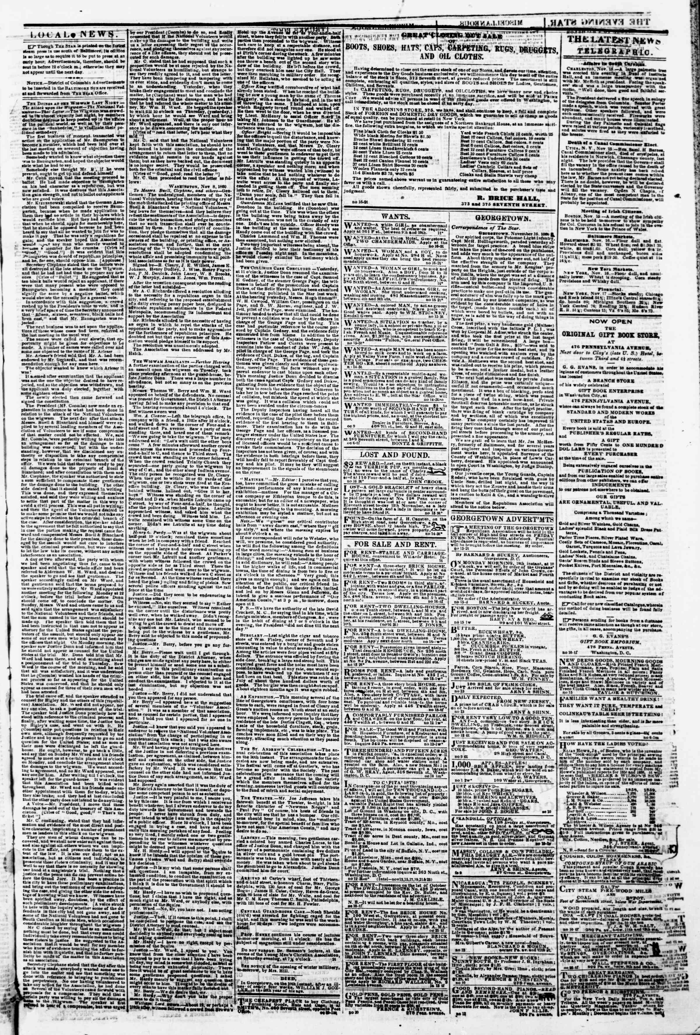 Newspaper of Evening Star dated November 16, 1860 Page 3