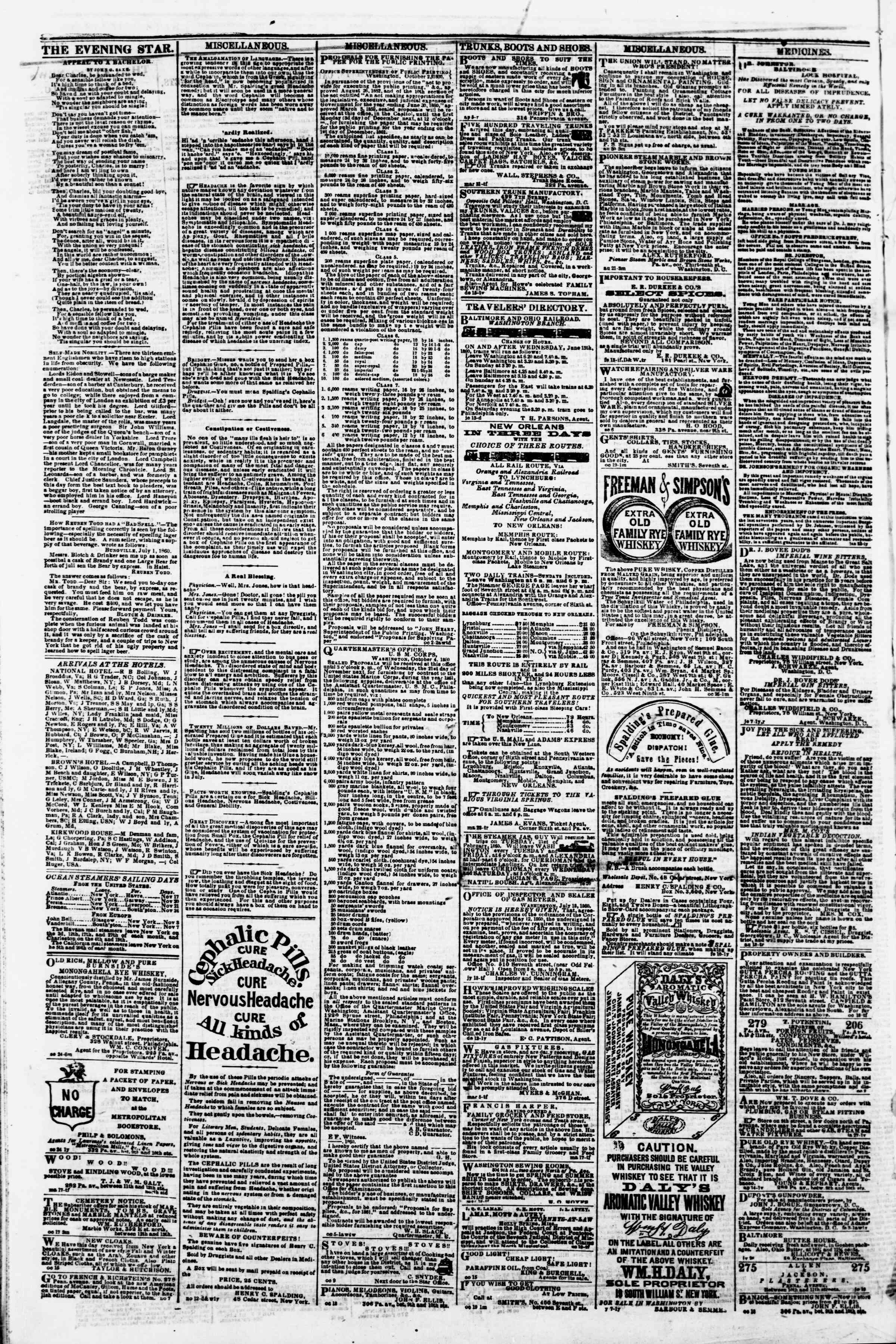 Newspaper of Evening Star dated November 16, 1860 Page 4