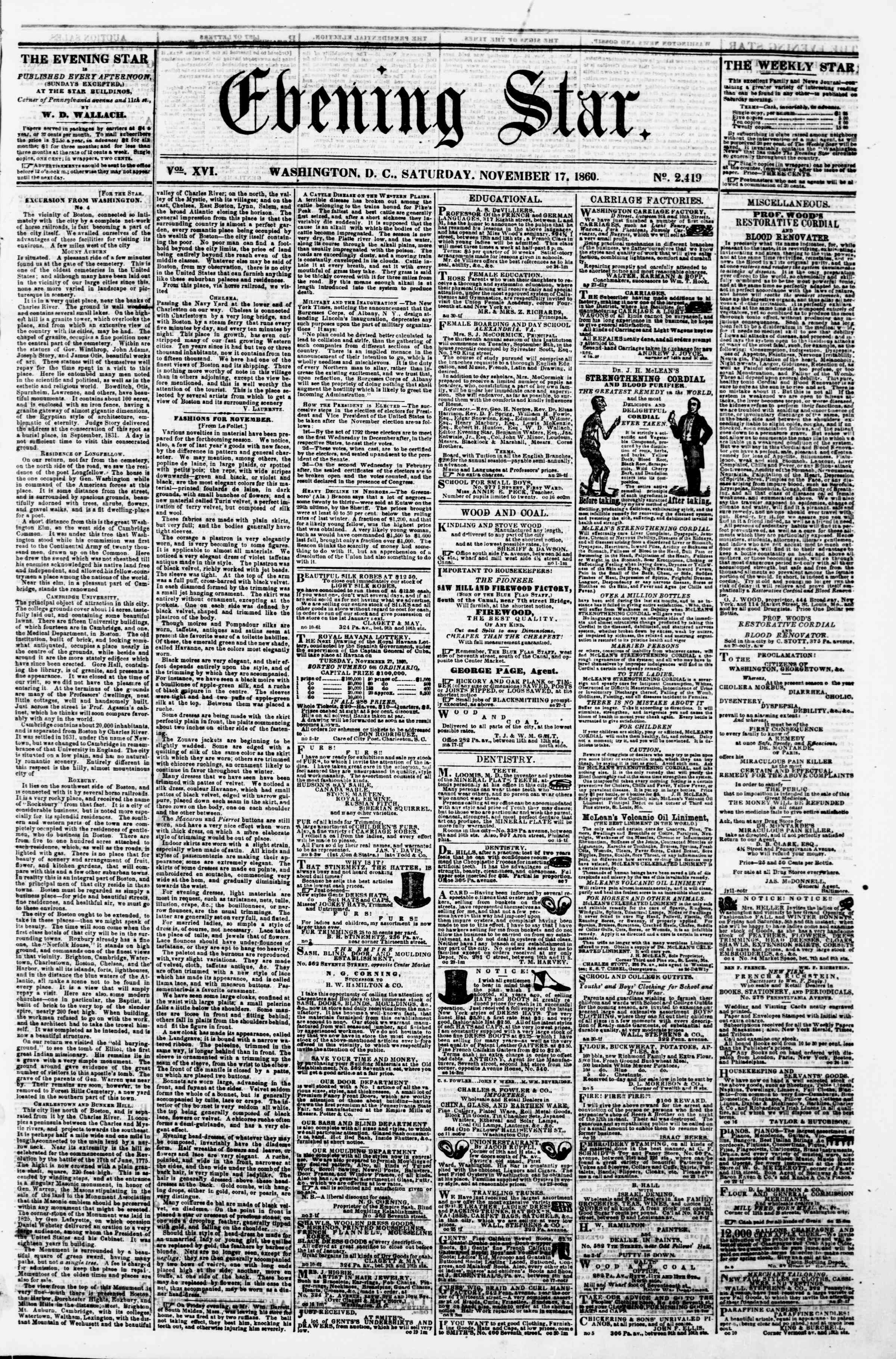 Newspaper of Evening Star dated November 17, 1860 Page 1