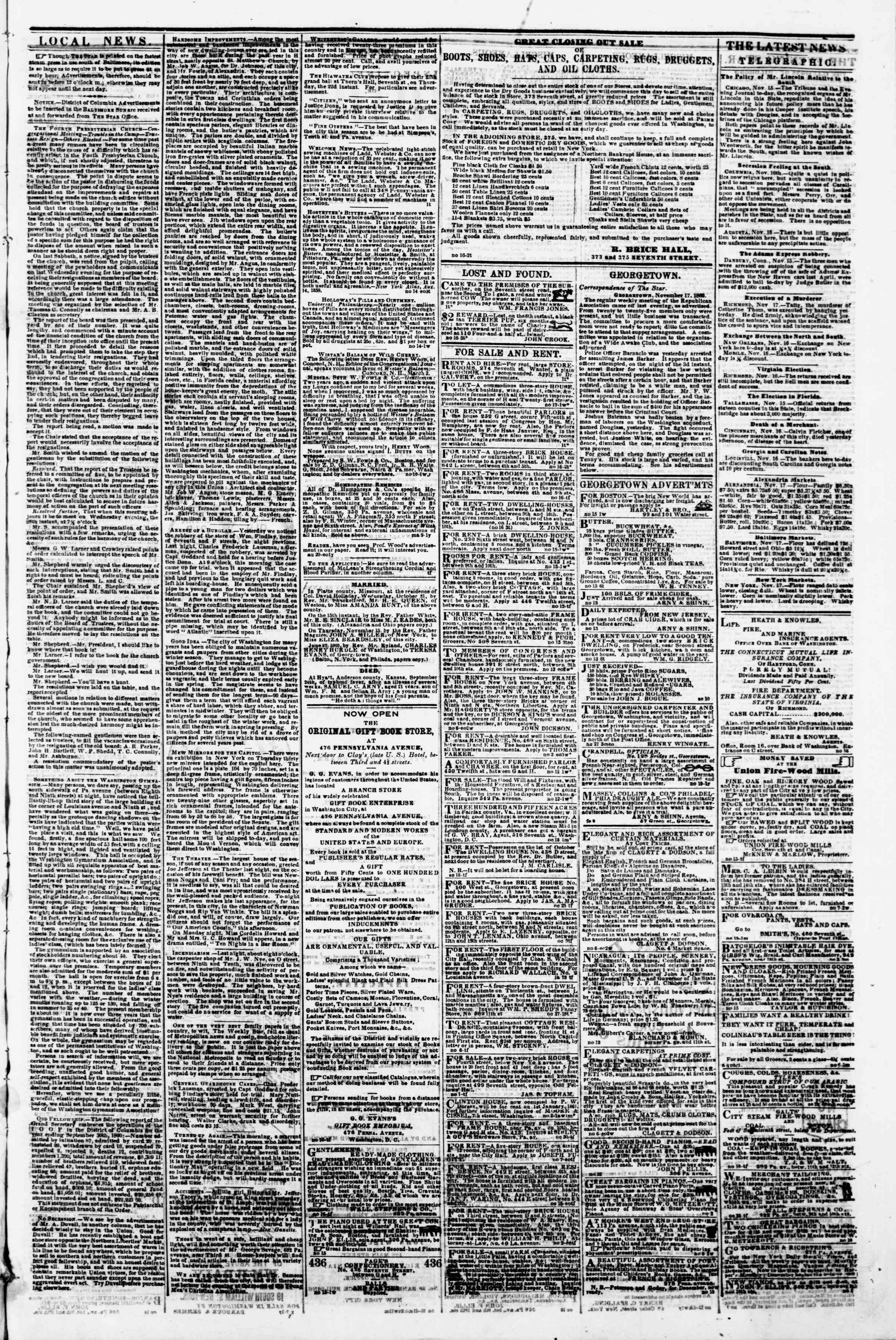 Newspaper of Evening Star dated November 17, 1860 Page 3
