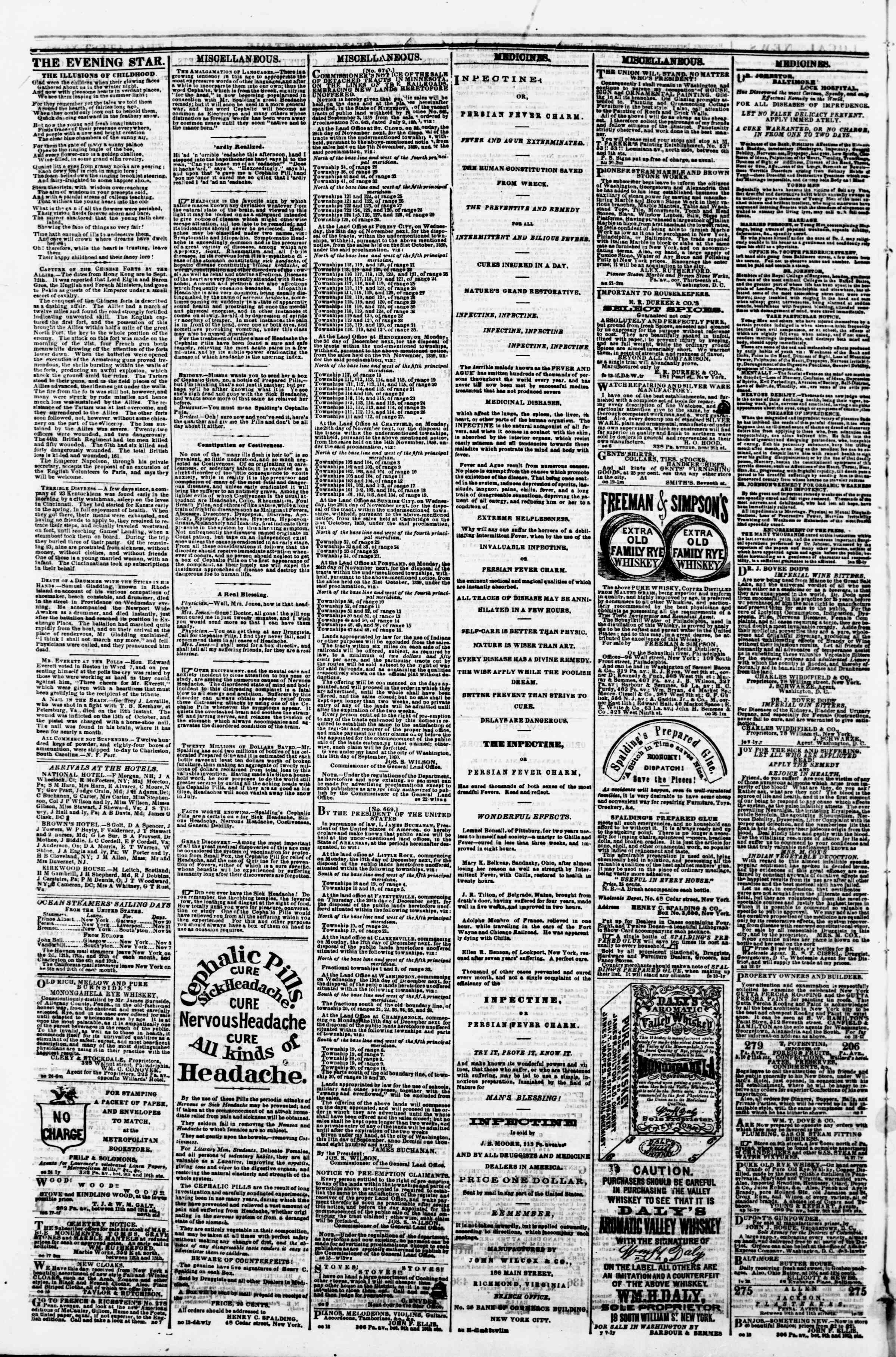 Newspaper of Evening Star dated November 17, 1860 Page 4