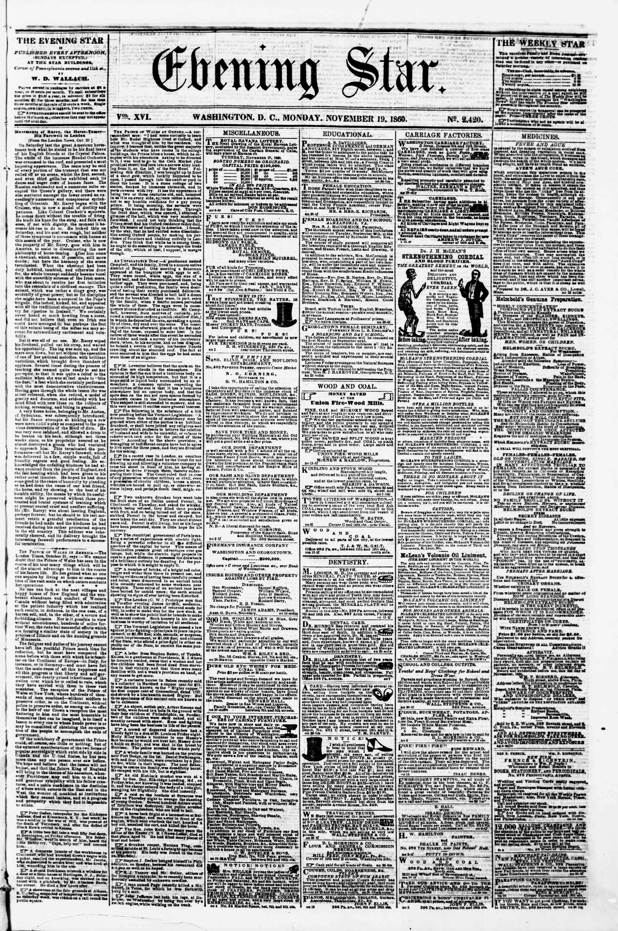 Newspaper of Evening Star dated November 19, 1860 Page 1