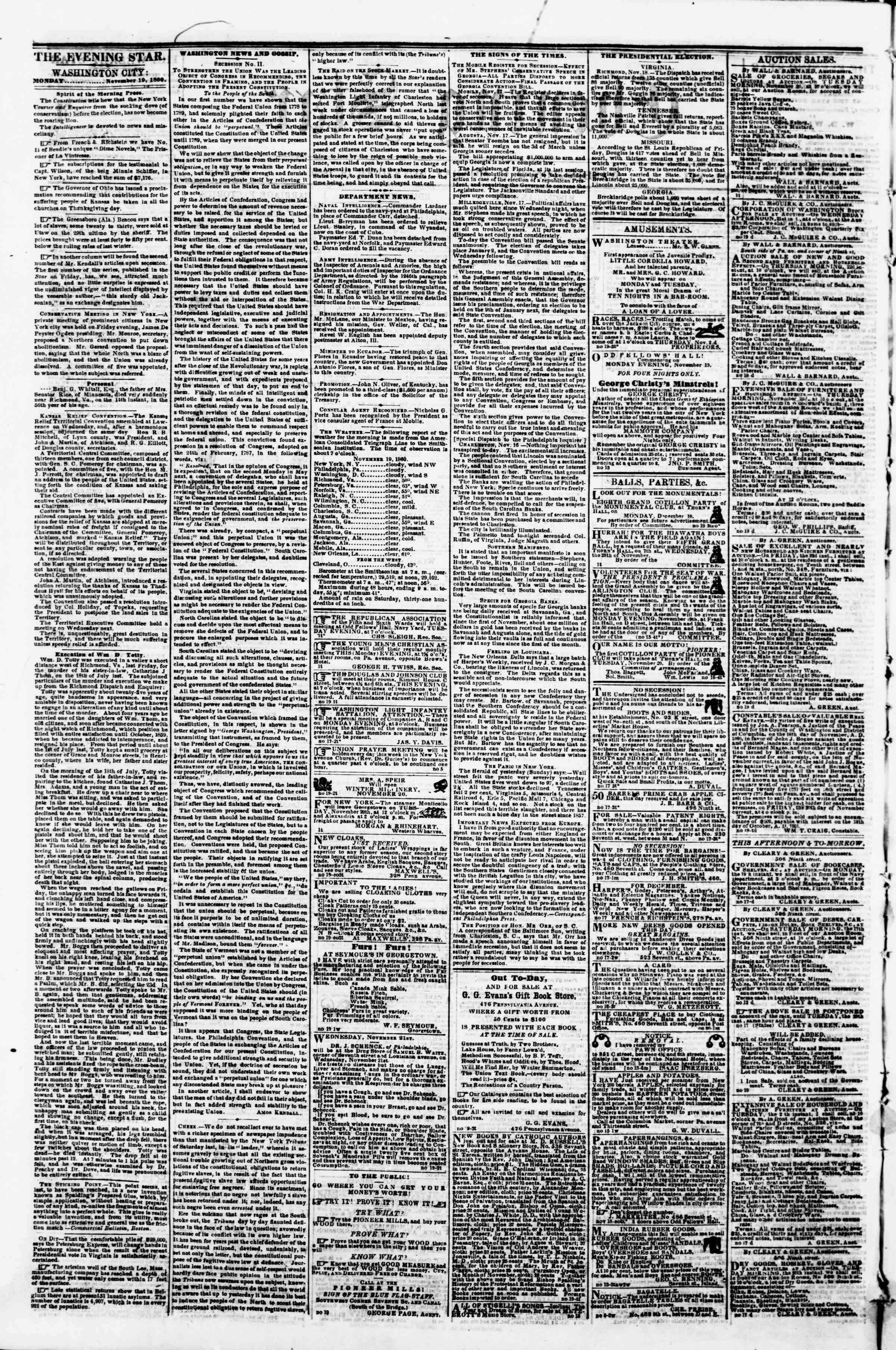 19 Kasım 1860 tarihli Evening Star Gazetesi Sayfa 2