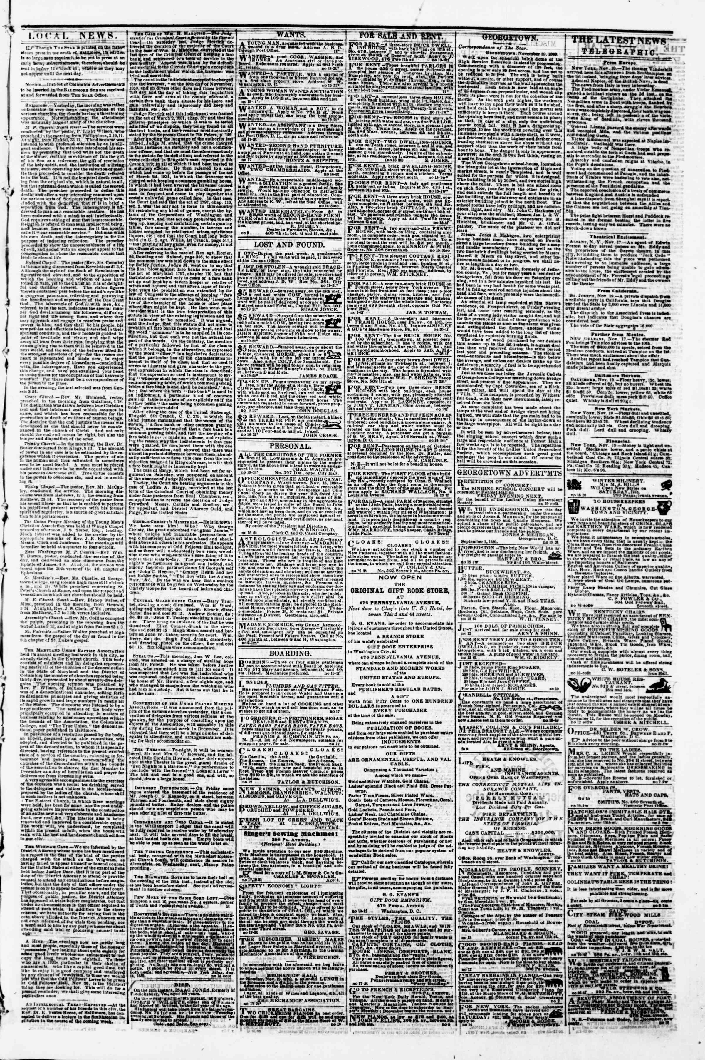 Newspaper of Evening Star dated November 19, 1860 Page 3