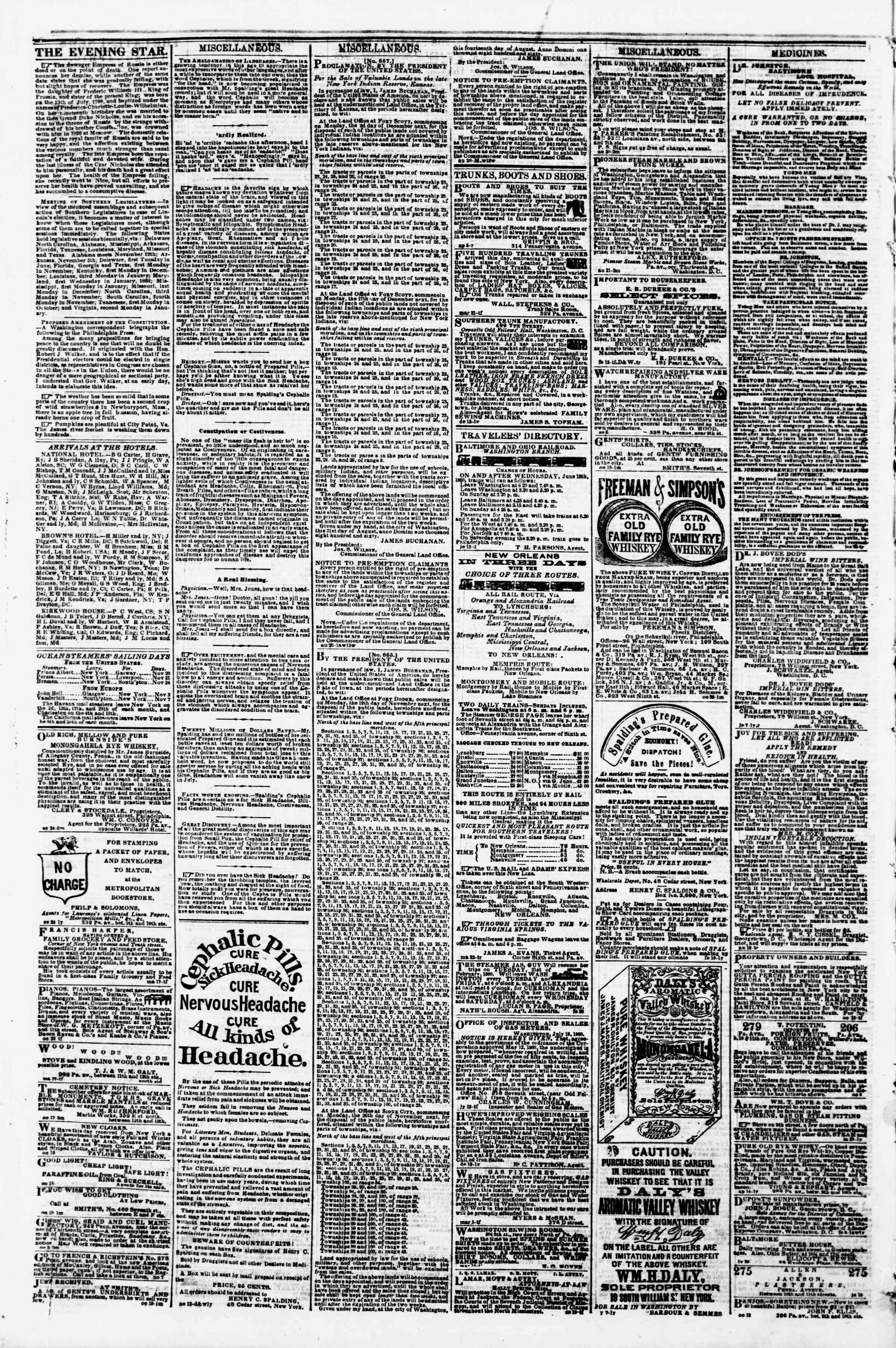 Newspaper of Evening Star dated November 19, 1860 Page 4