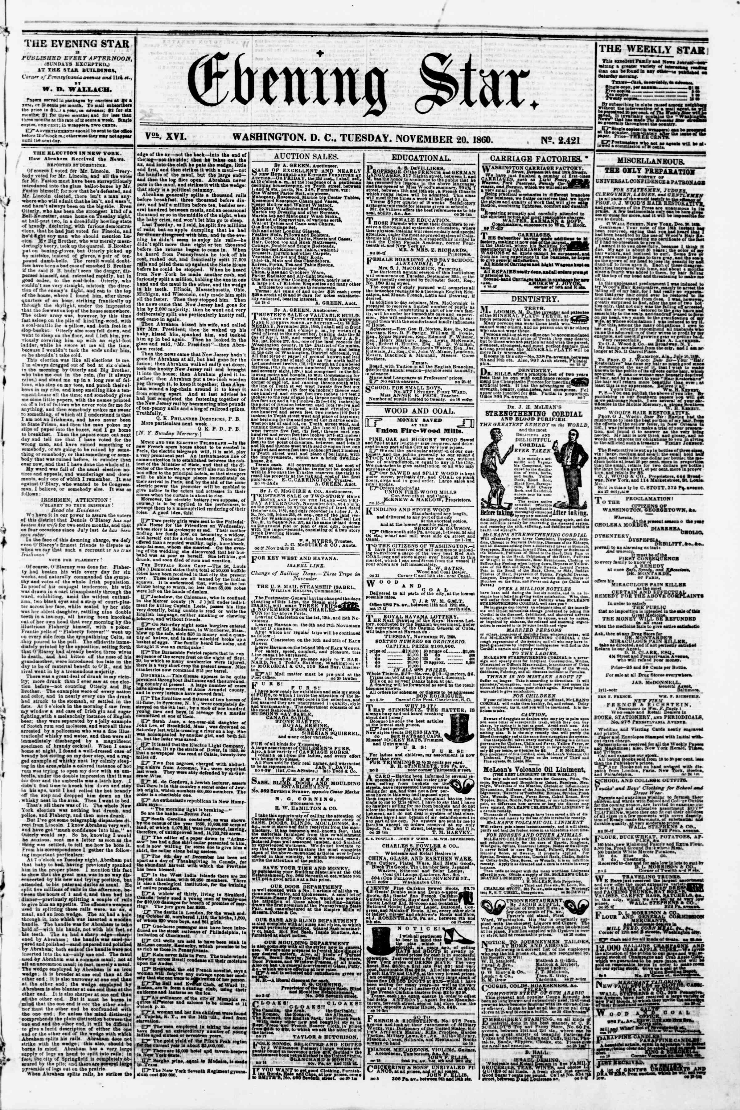 Newspaper of Evening Star dated November 20, 1860 Page 1