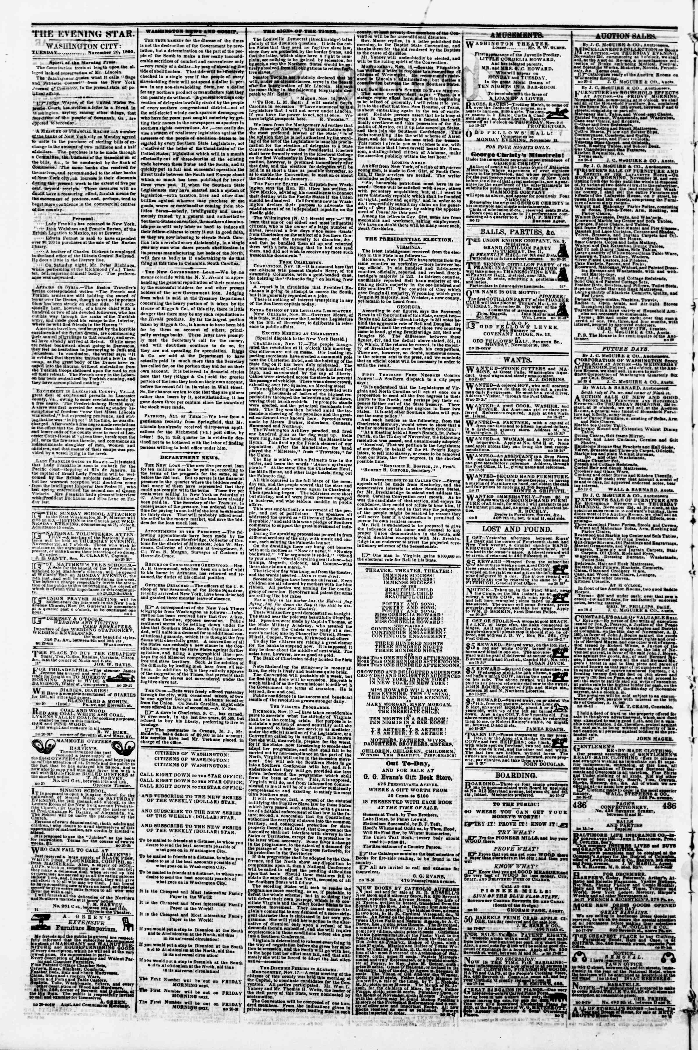 Newspaper of Evening Star dated November 20, 1860 Page 2