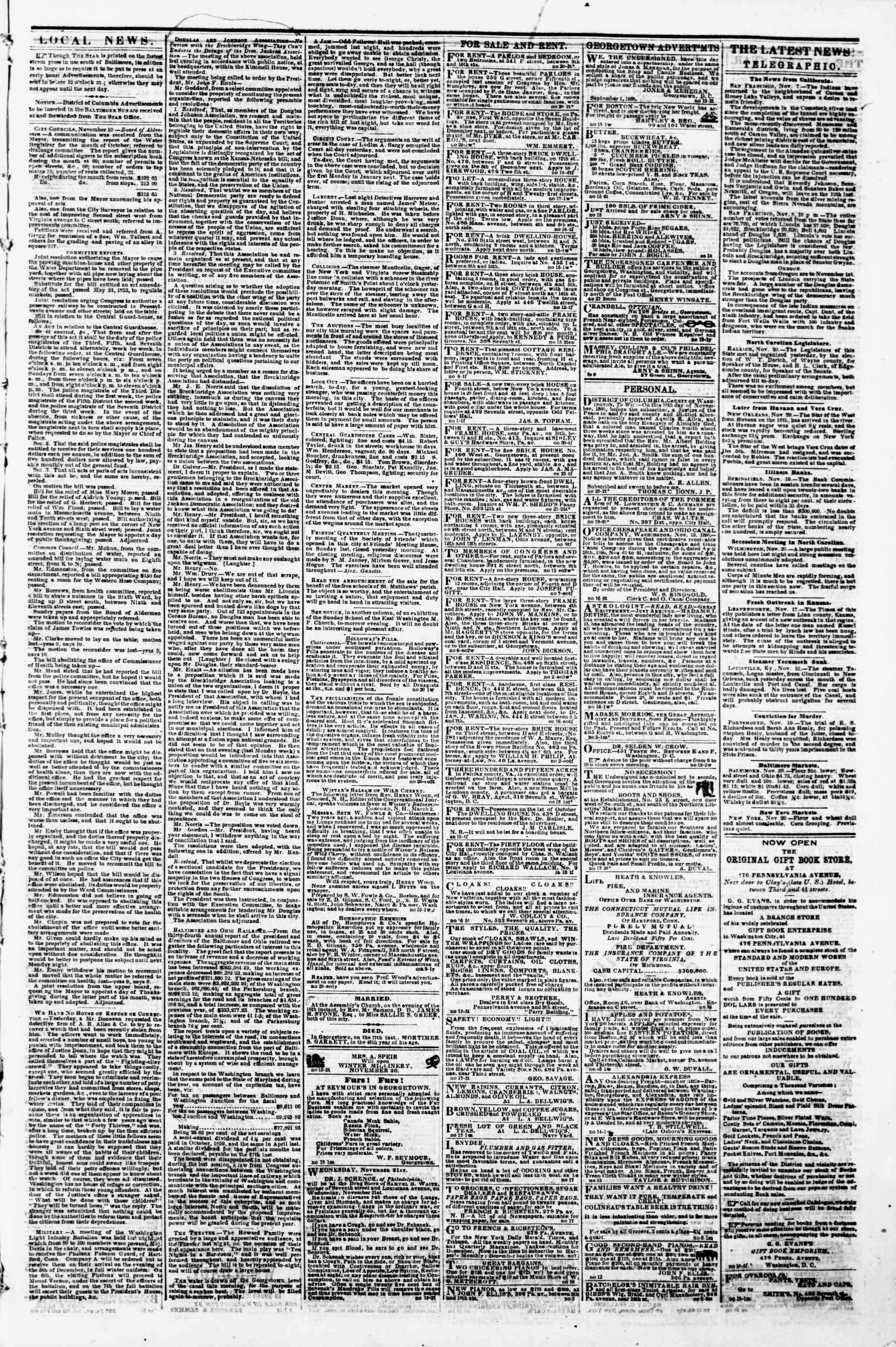 Newspaper of Evening Star dated November 20, 1860 Page 3