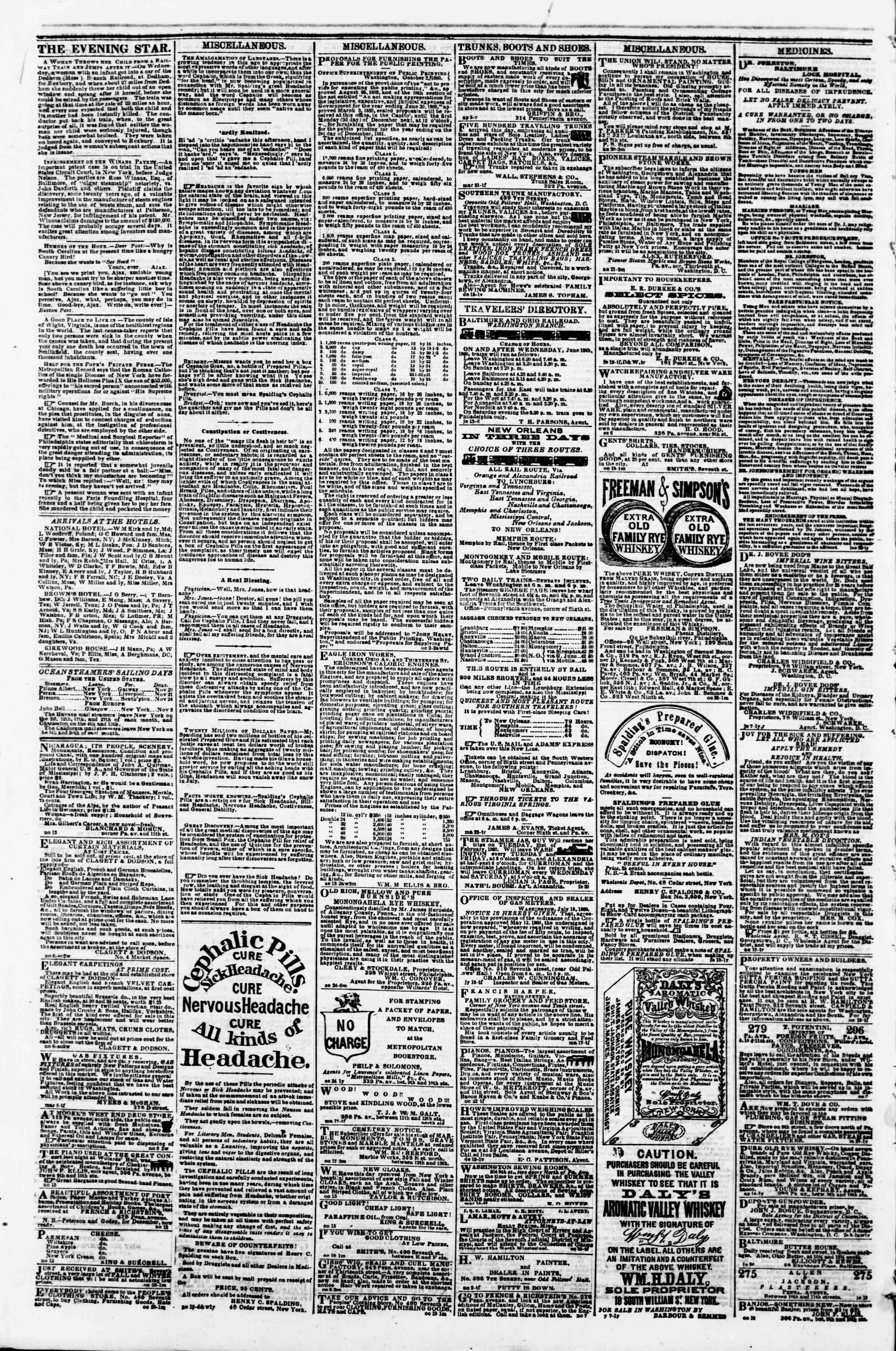 Newspaper of Evening Star dated November 20, 1860 Page 4