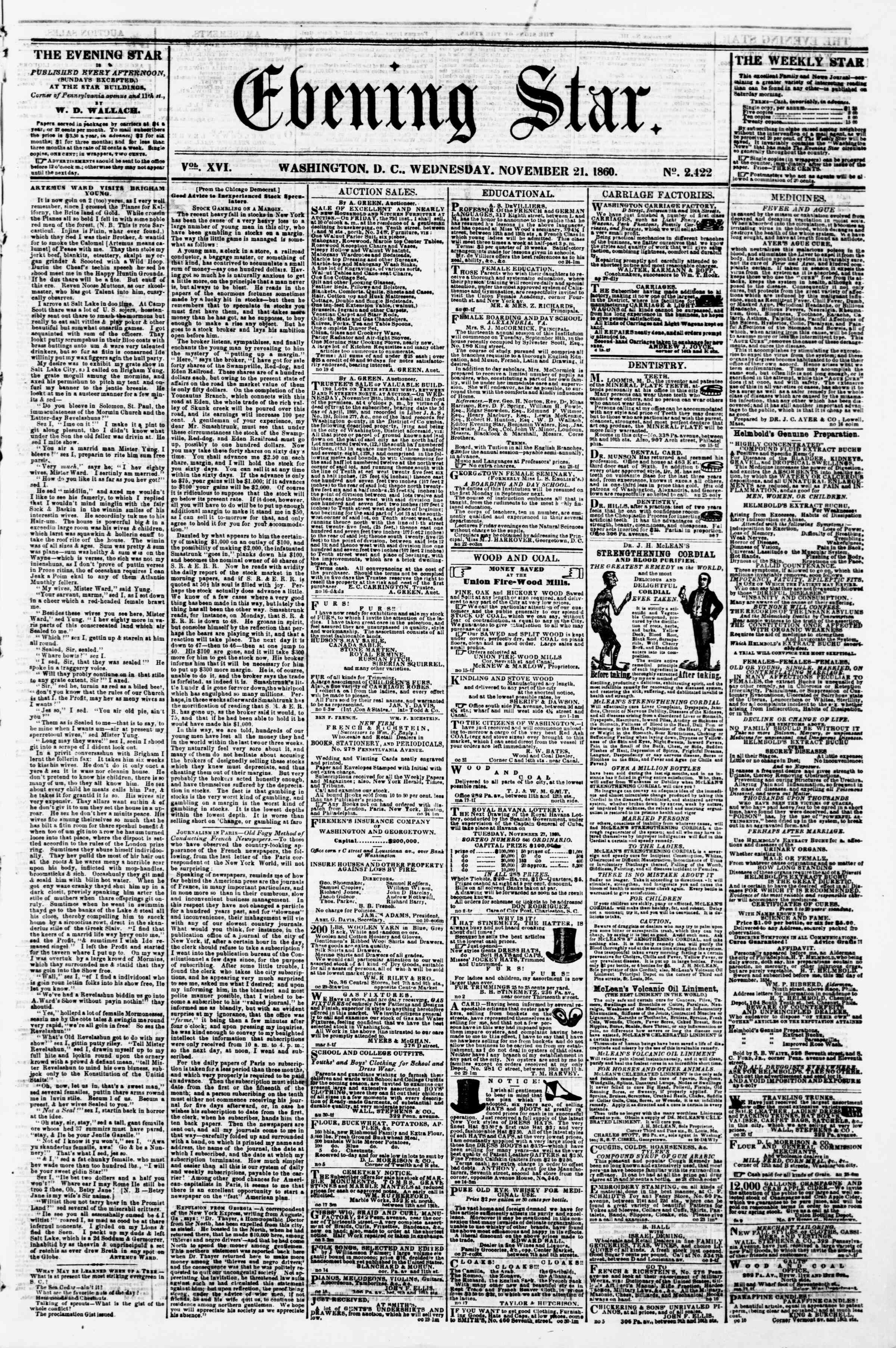 Newspaper of Evening Star dated November 21, 1860 Page 1