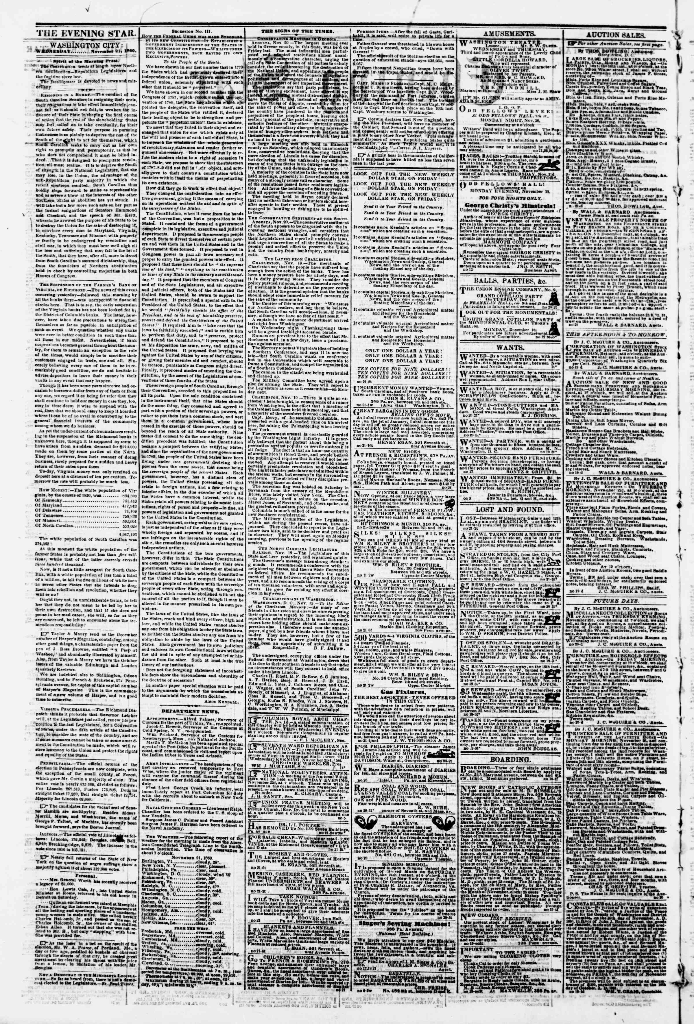 Newspaper of Evening Star dated November 21, 1860 Page 2