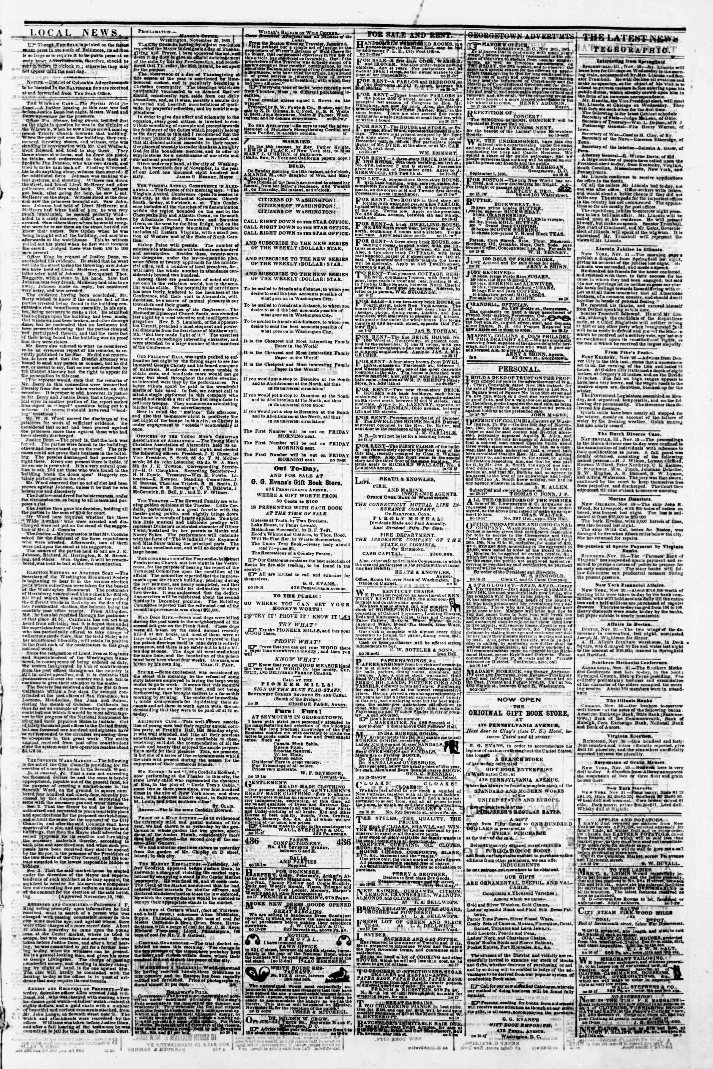 Newspaper of Evening Star dated November 21, 1860 Page 3