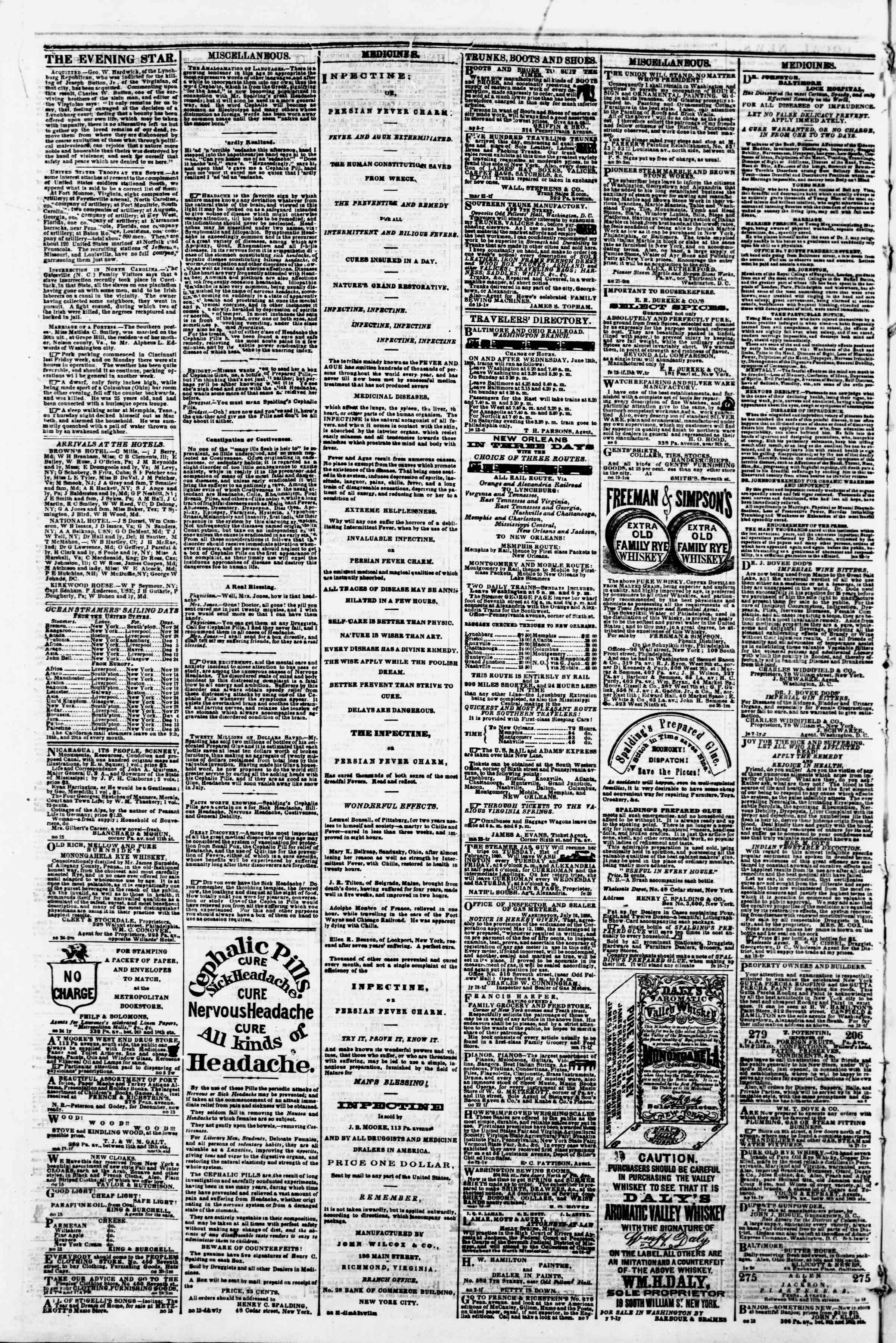 Newspaper of Evening Star dated November 21, 1860 Page 4