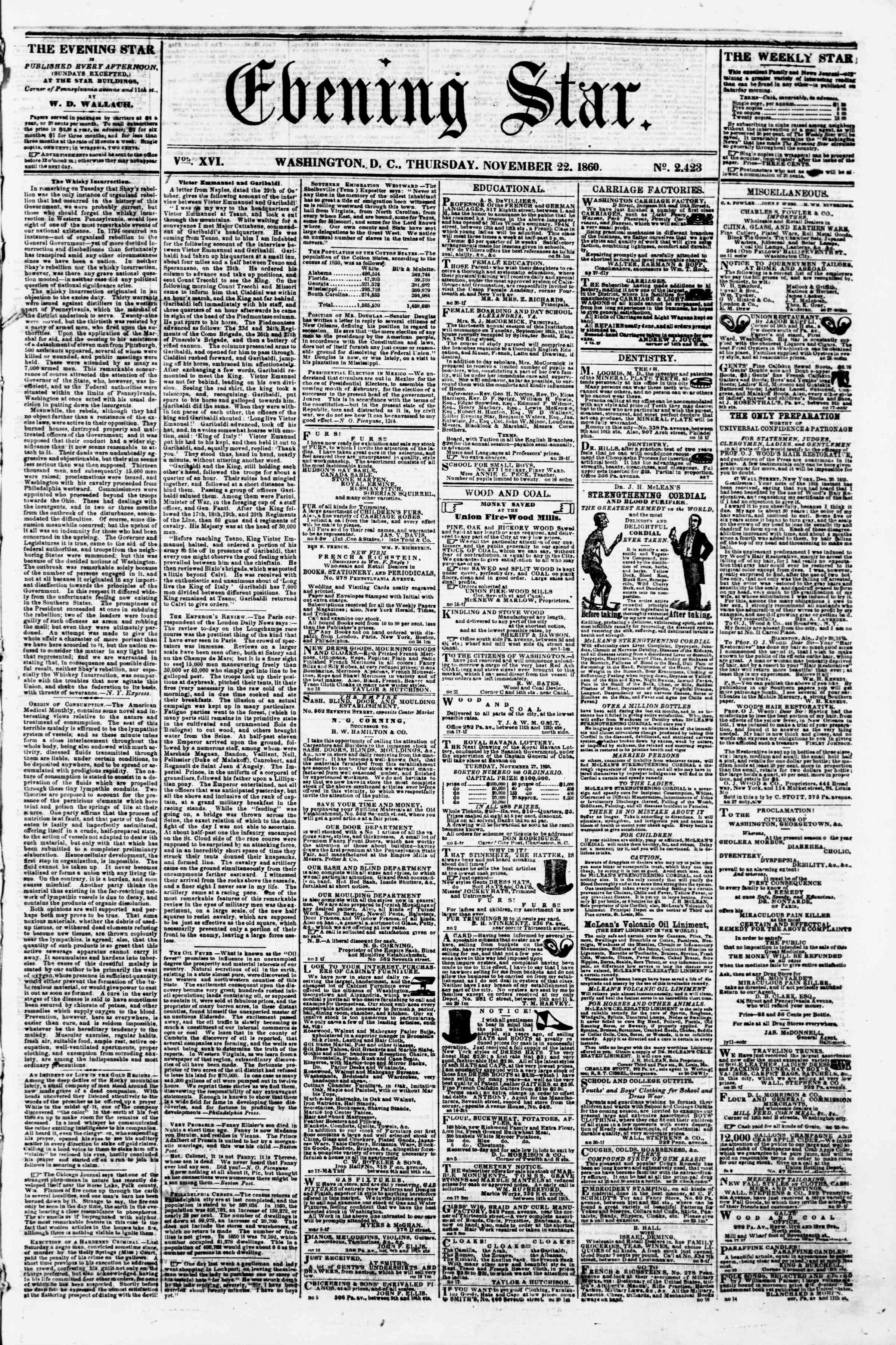 Newspaper of Evening Star dated November 22, 1860 Page 1