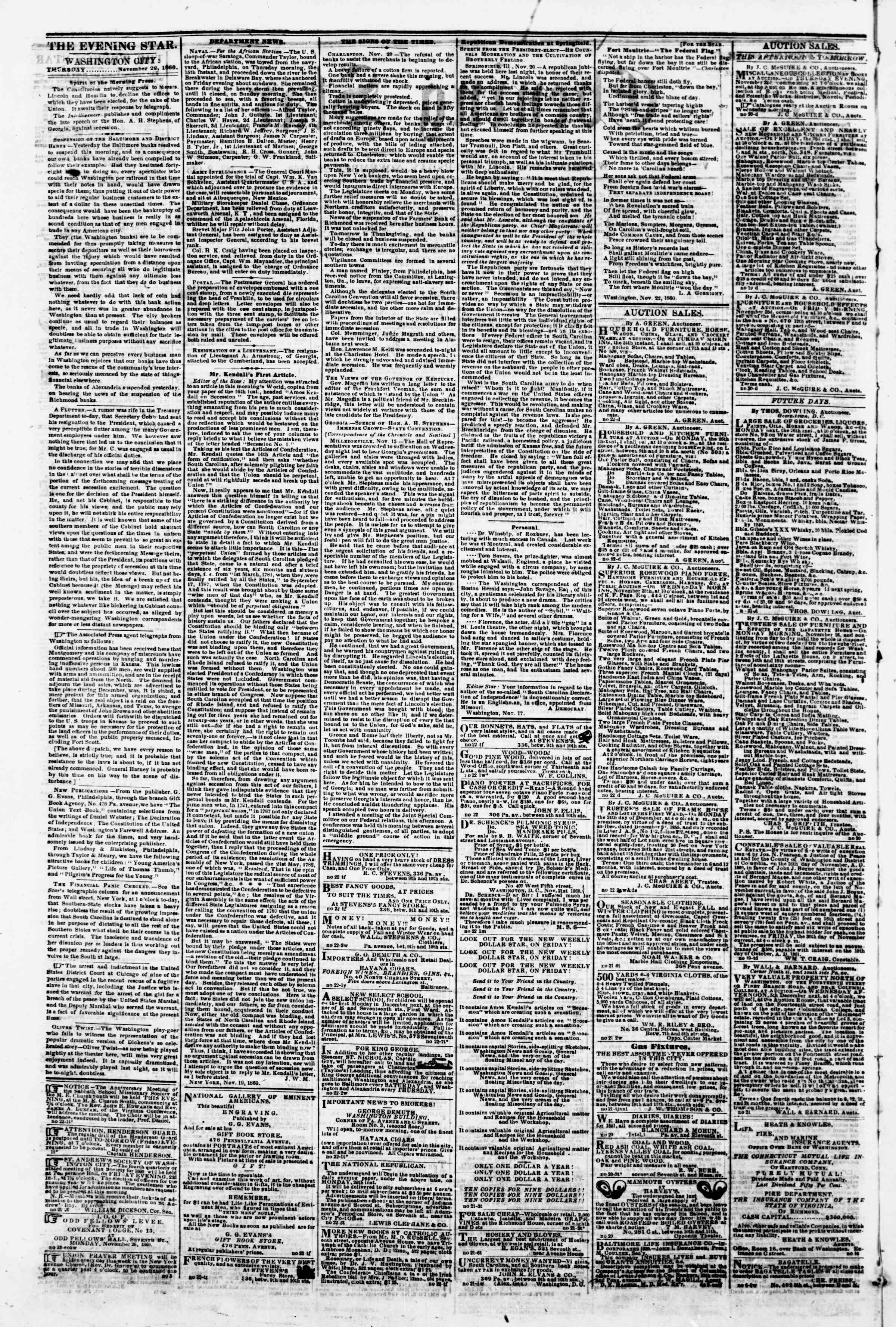 Newspaper of Evening Star dated November 22, 1860 Page 2