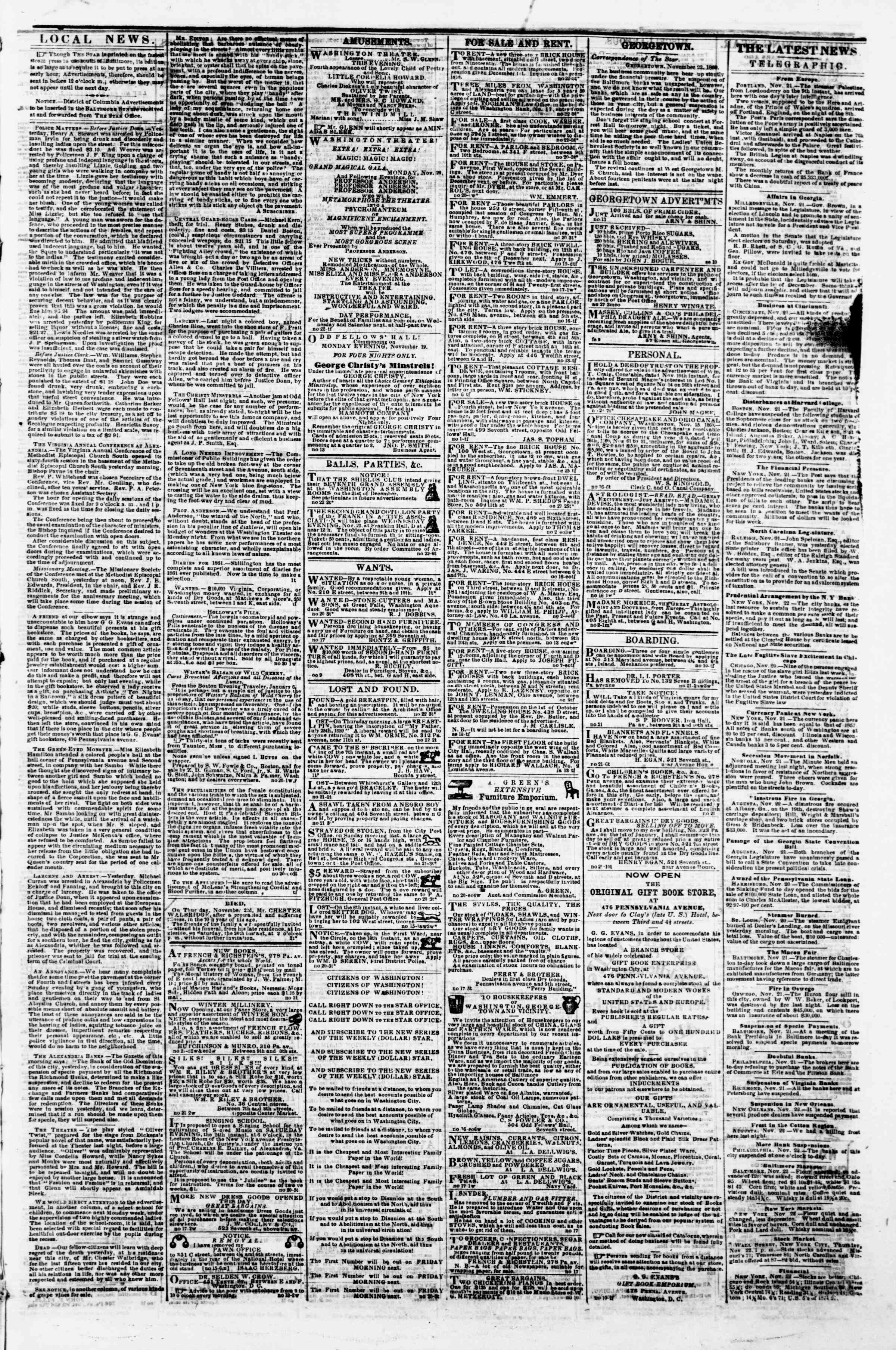 Newspaper of Evening Star dated November 22, 1860 Page 3