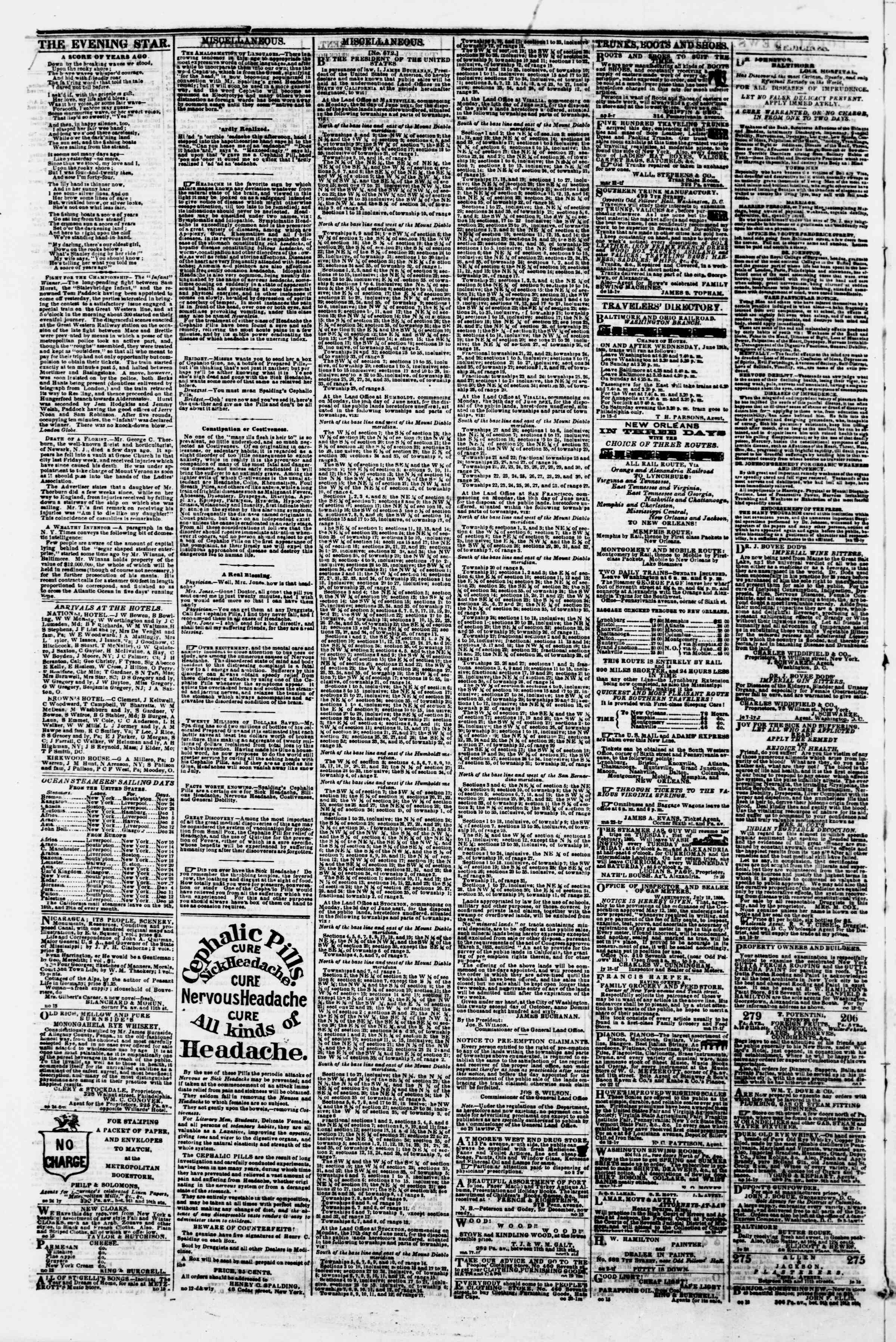 Newspaper of Evening Star dated November 22, 1860 Page 4