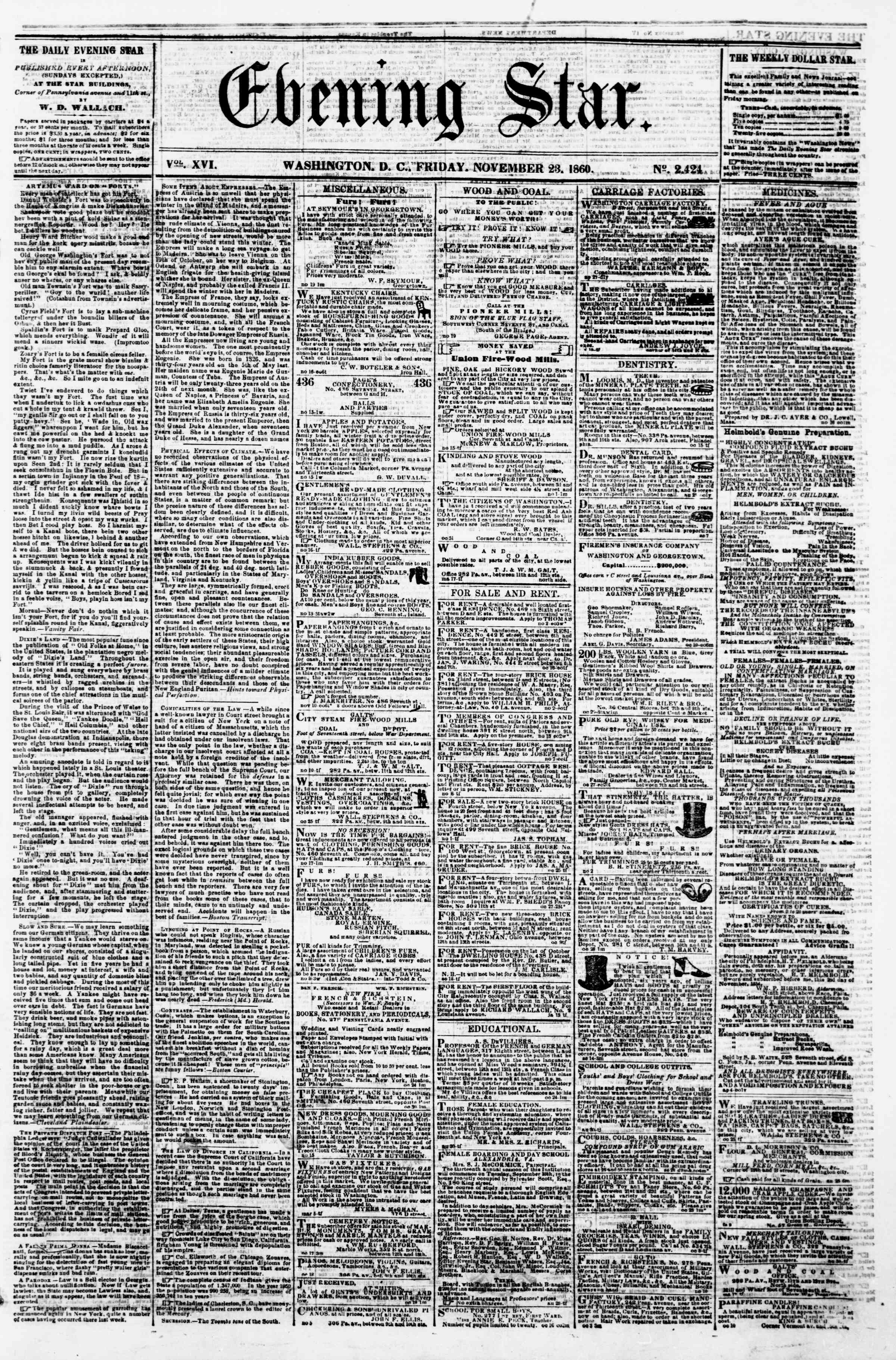 Newspaper of Evening Star dated November 23, 1860 Page 1