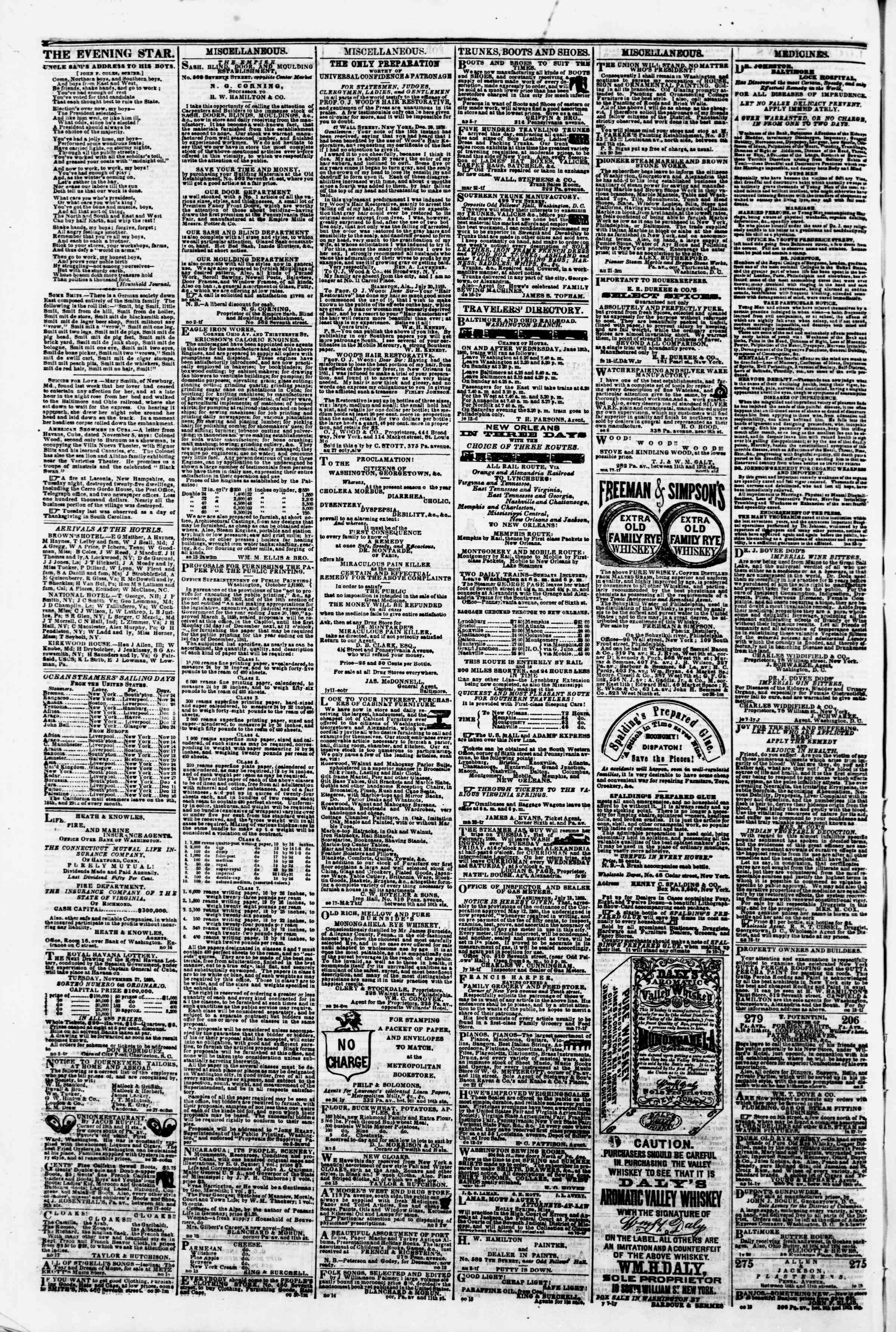 Newspaper of Evening Star dated November 23, 1860 Page 4
