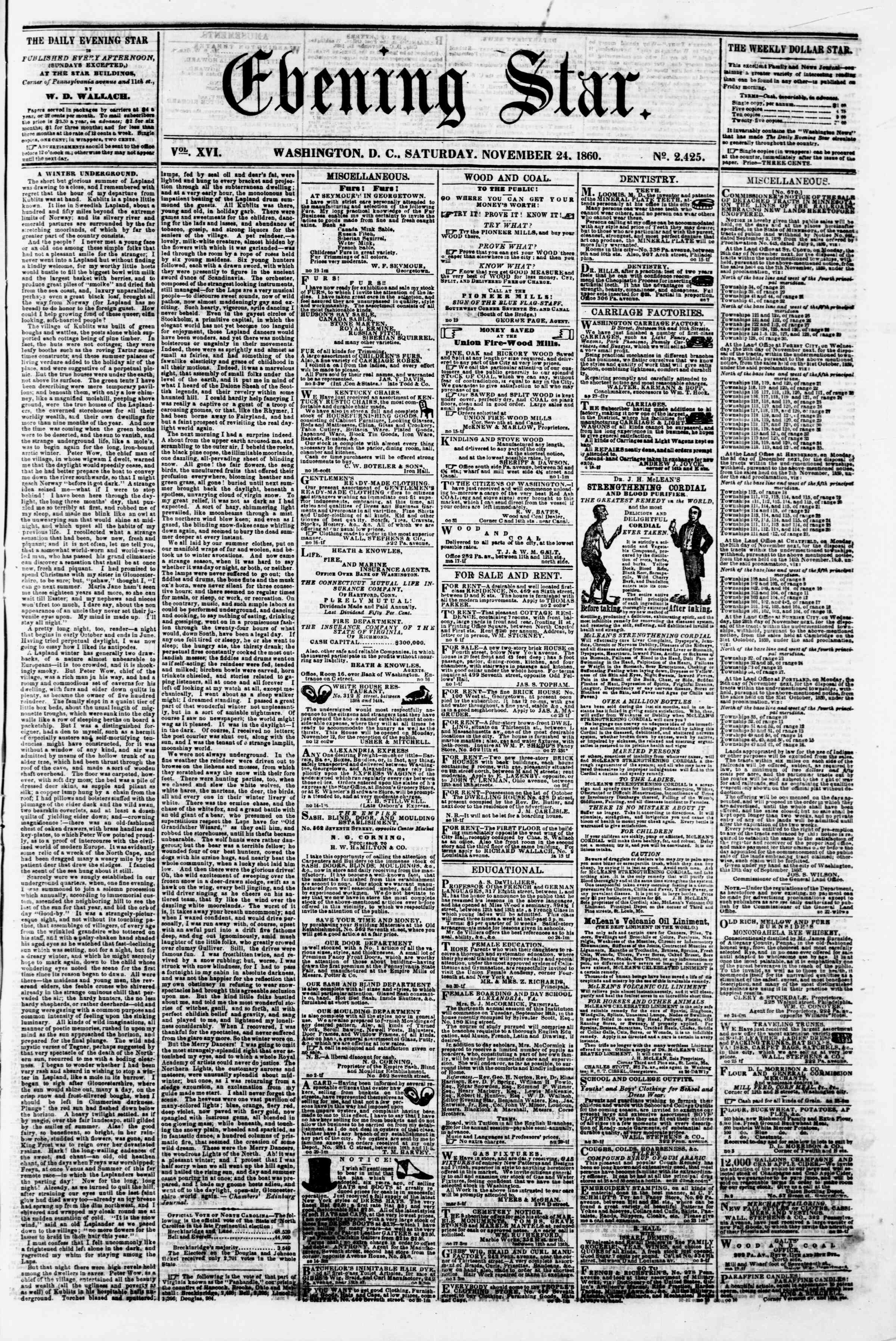 24 Kasım 1860 tarihli Evening Star Gazetesi Sayfa 1