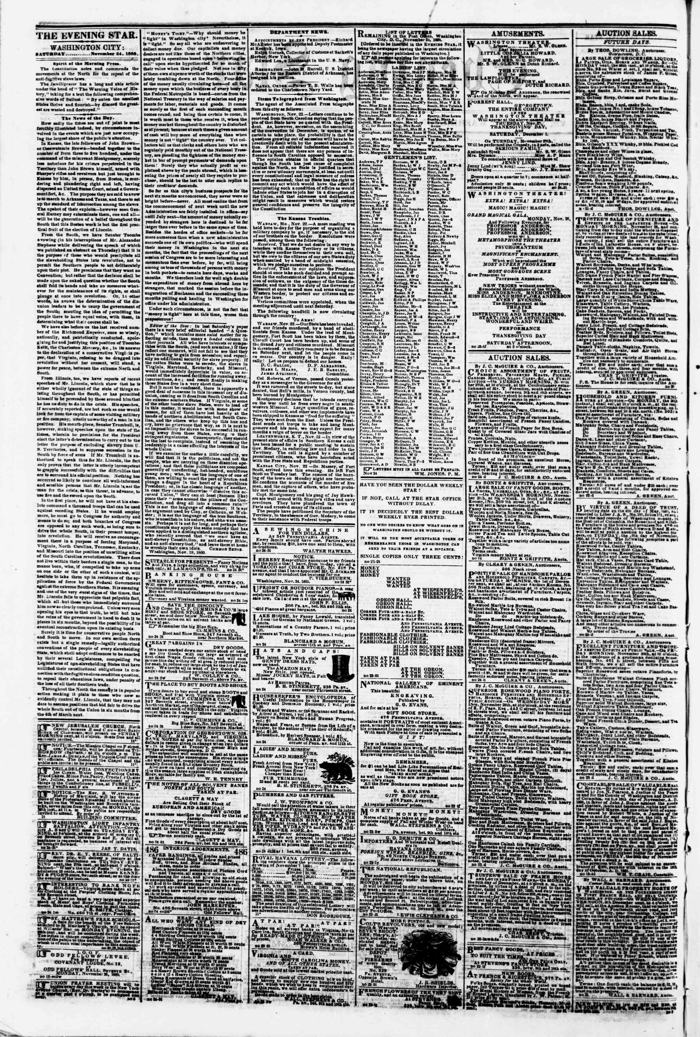 Newspaper of Evening Star dated November 24, 1860 Page 2