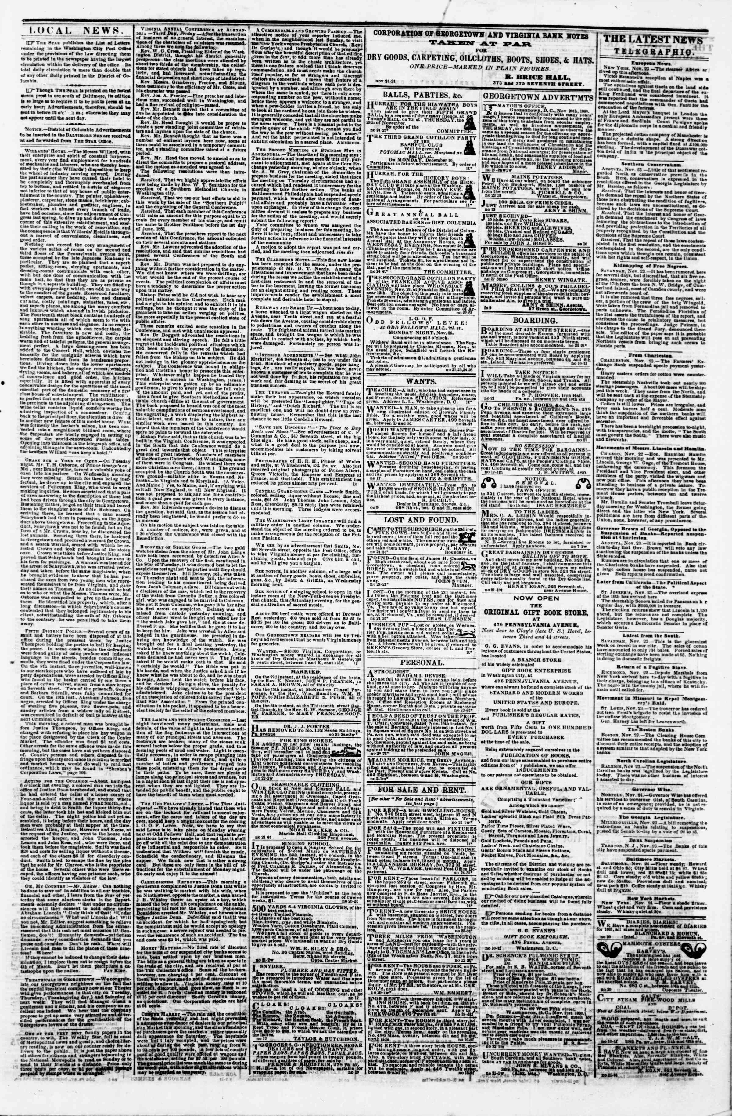 Newspaper of Evening Star dated November 24, 1860 Page 3