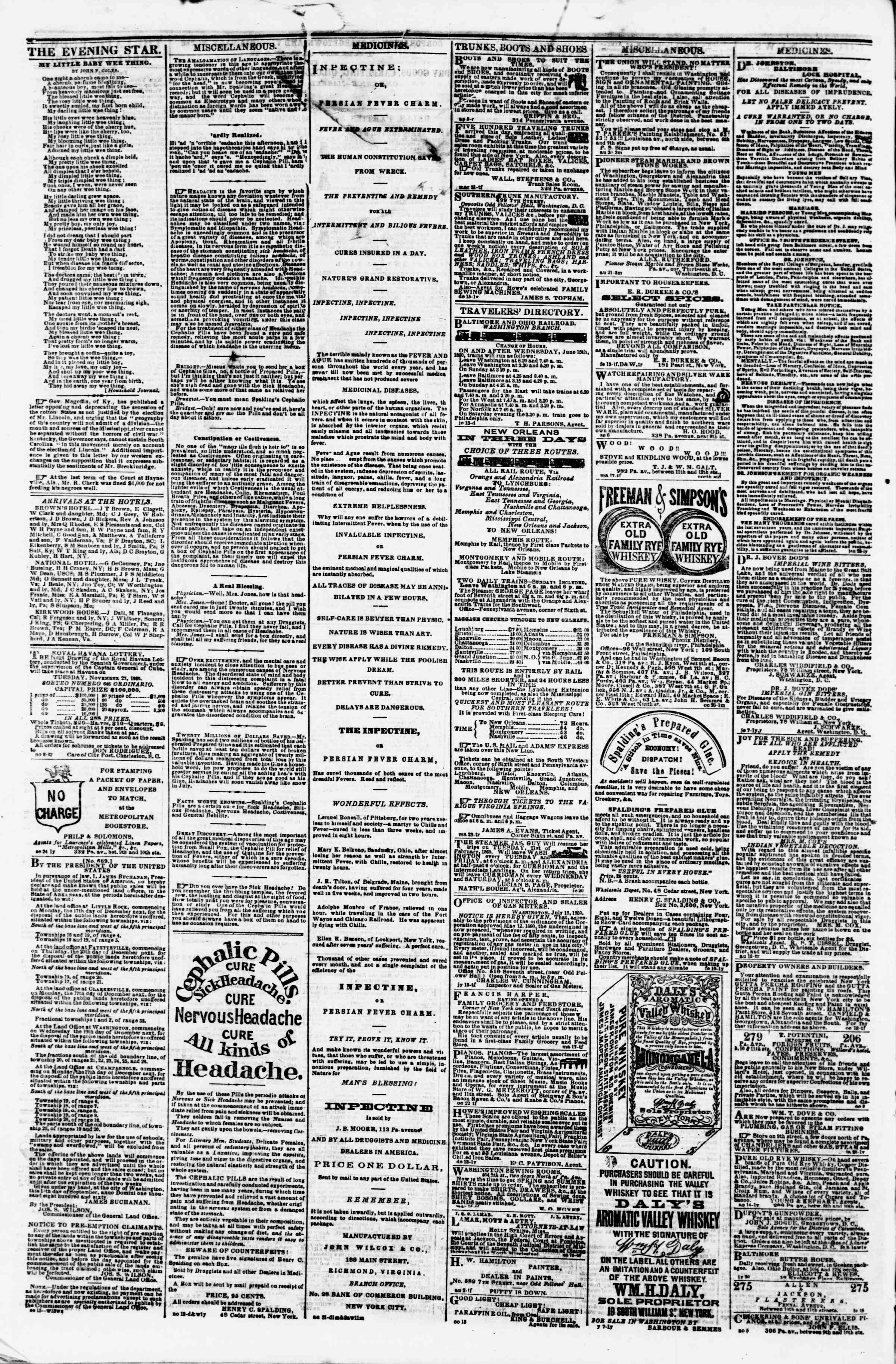 Newspaper of Evening Star dated November 24, 1860 Page 4