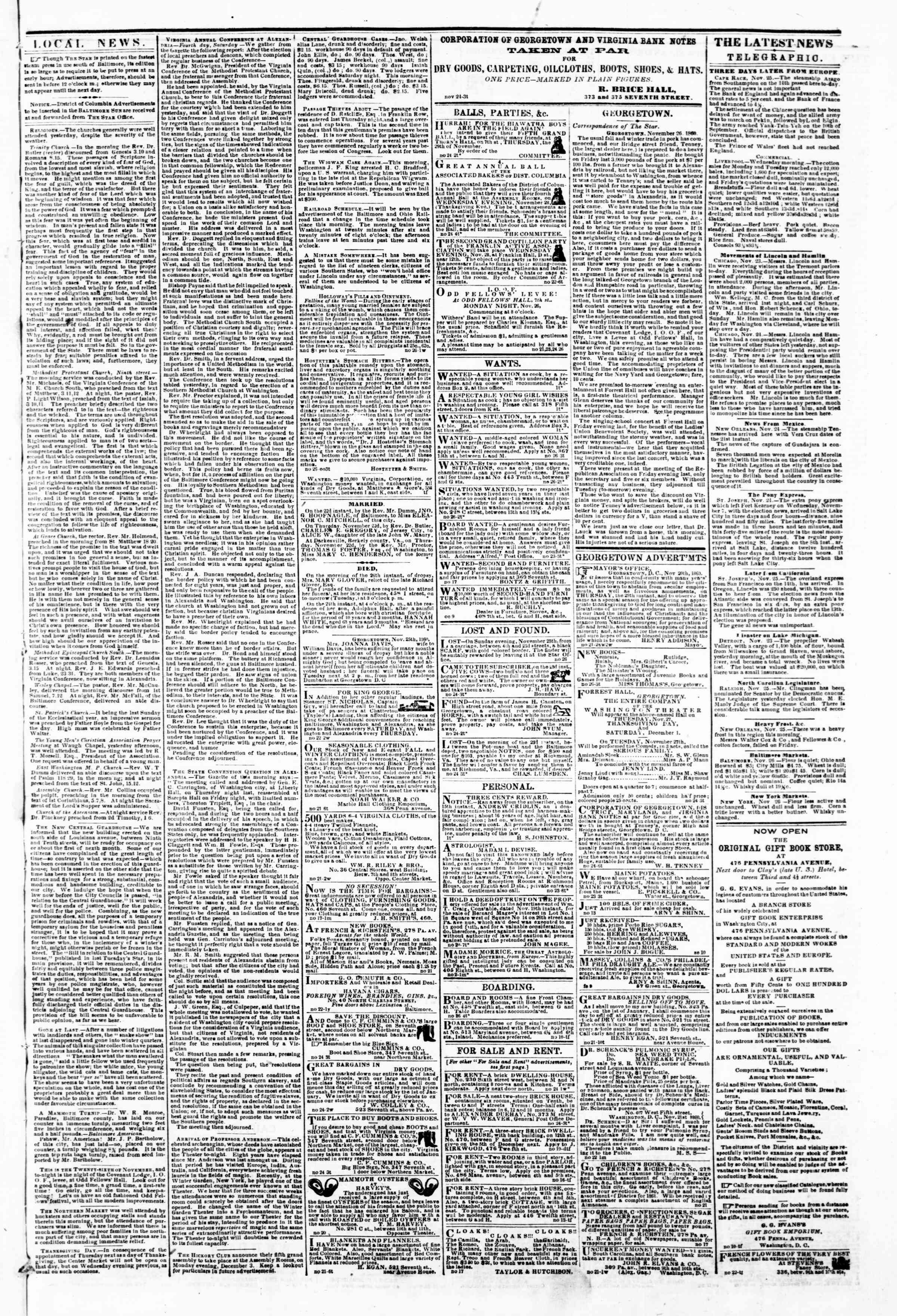 Newspaper of Evening Star dated November 26, 1860 Page 3