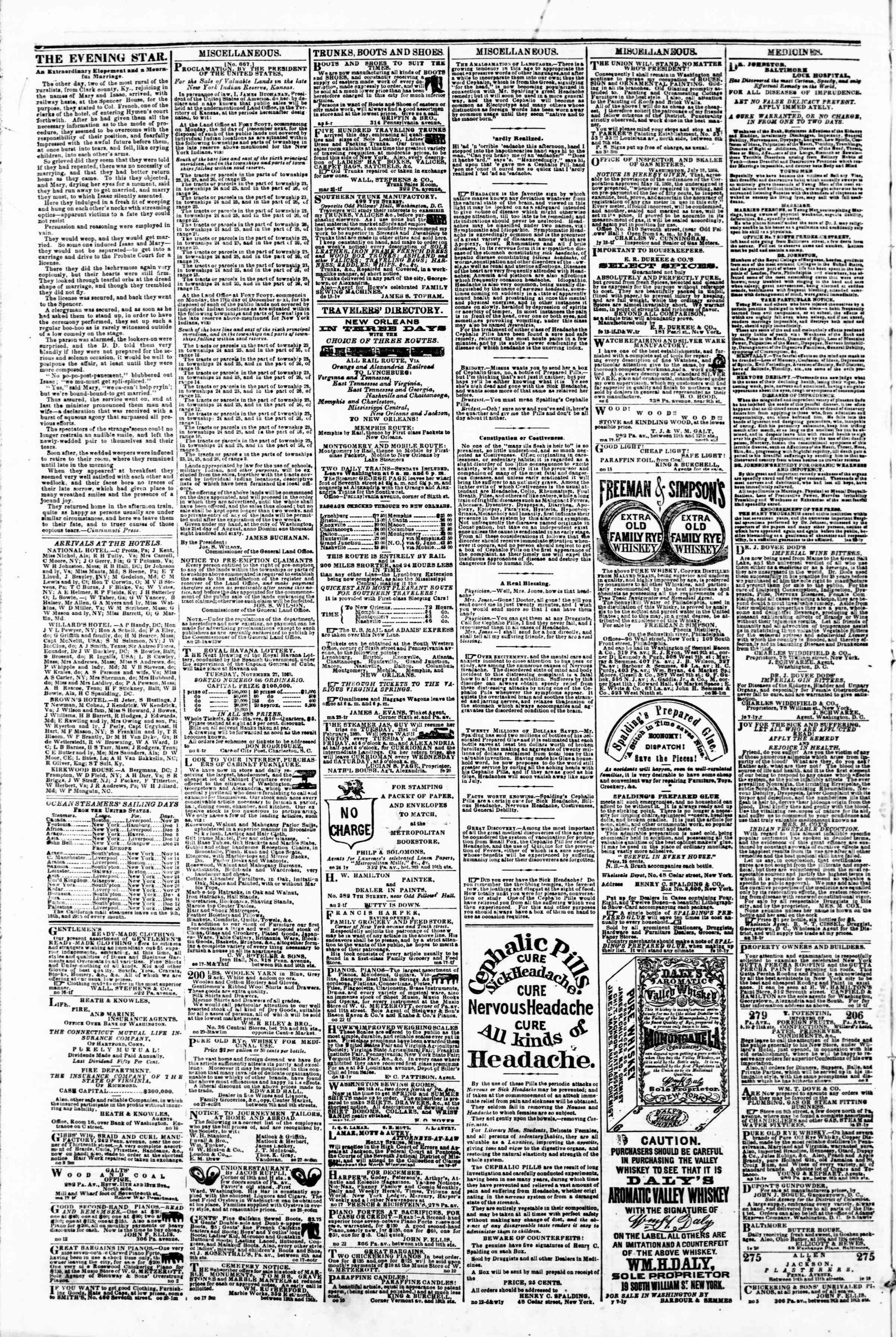 Newspaper of Evening Star dated November 26, 1860 Page 4