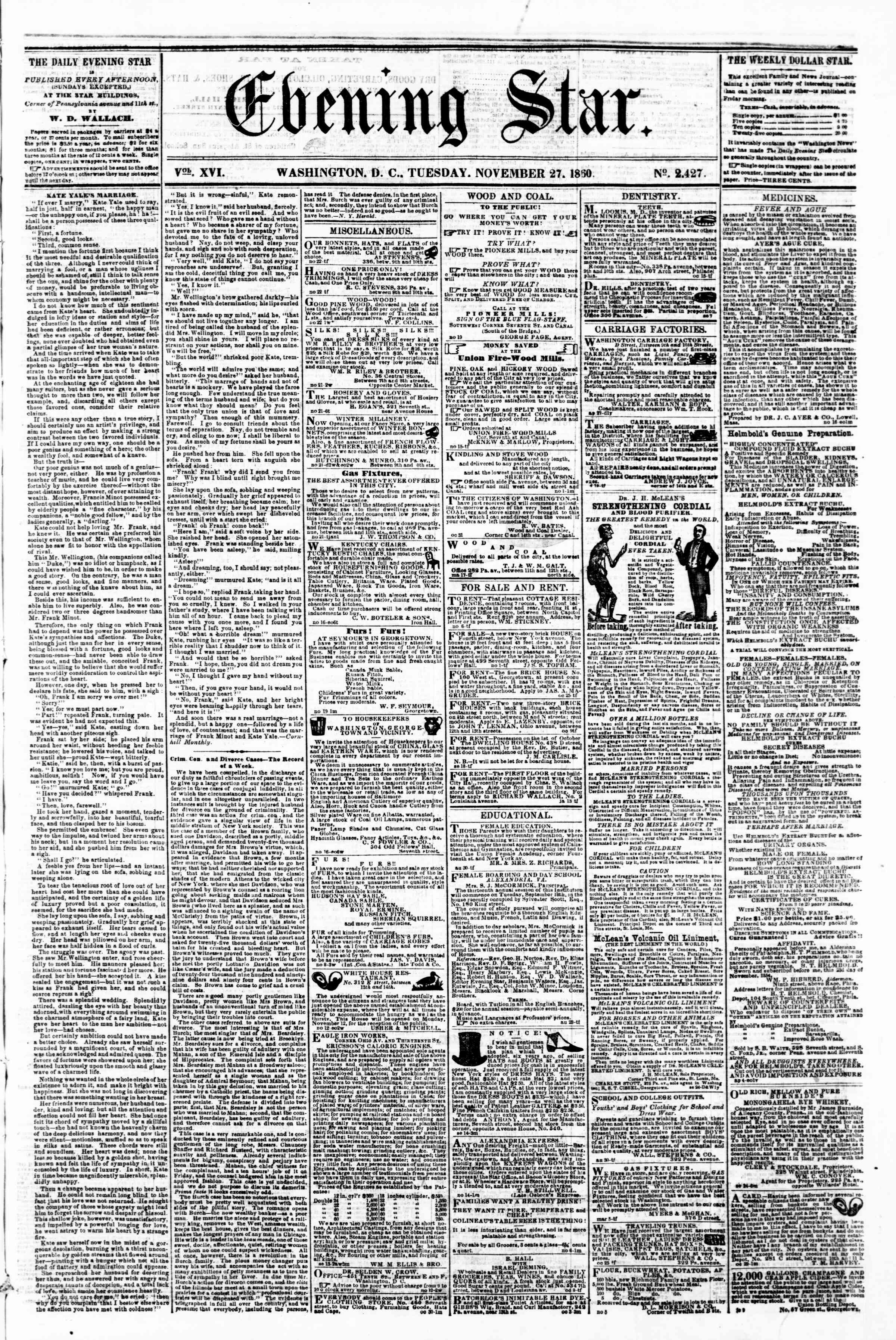 Newspaper of Evening Star dated November 27, 1860 Page 1