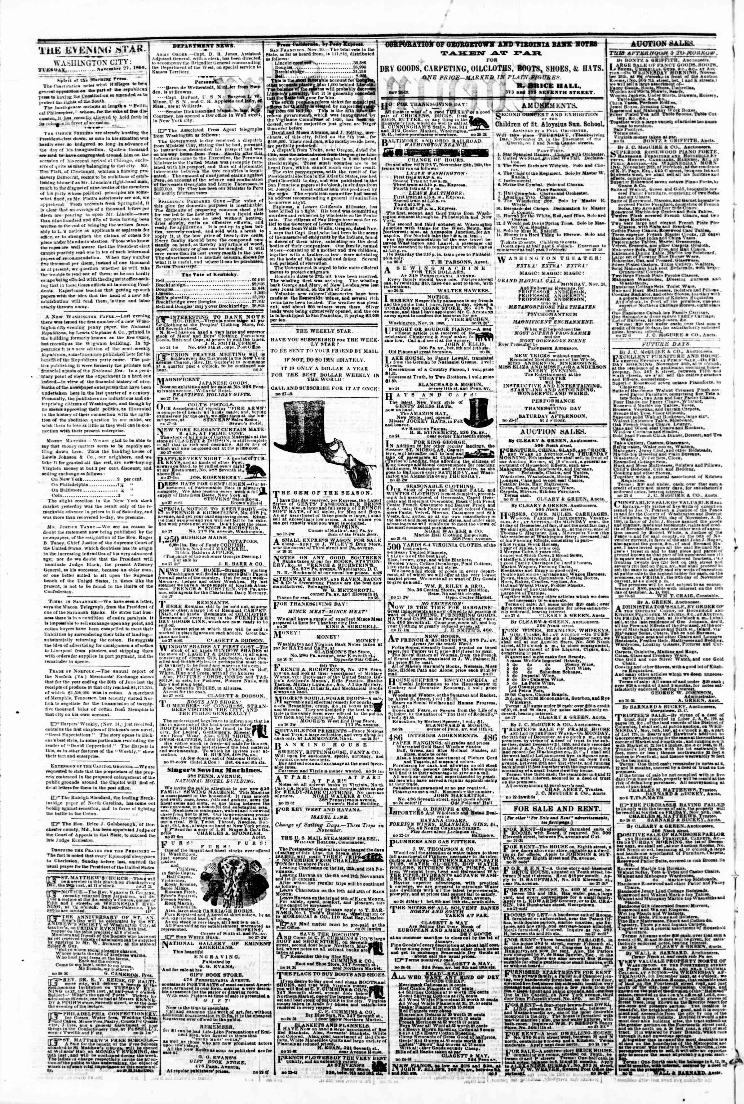 Newspaper of Evening Star dated November 27, 1860 Page 2