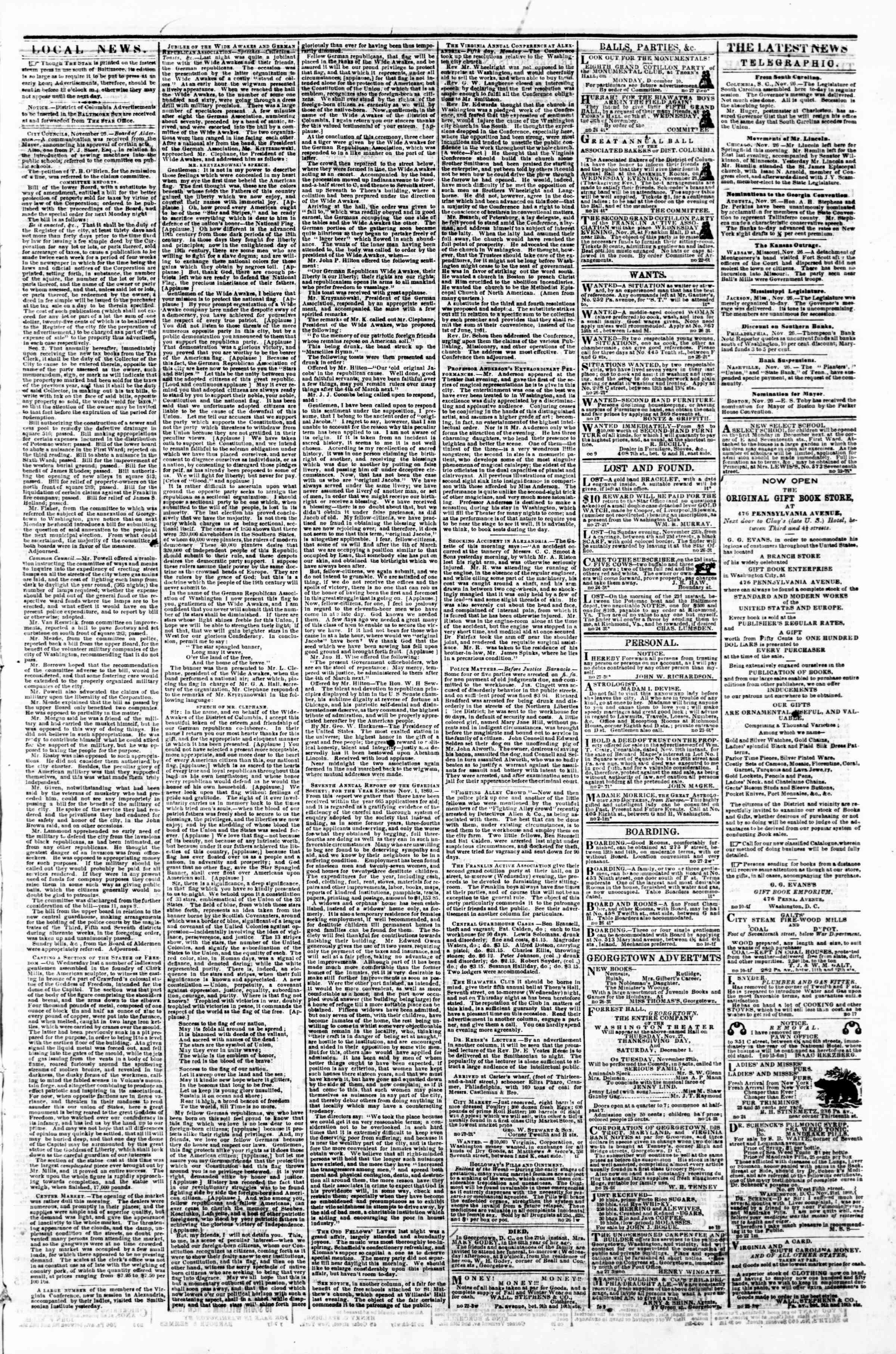 Newspaper of Evening Star dated November 27, 1860 Page 3