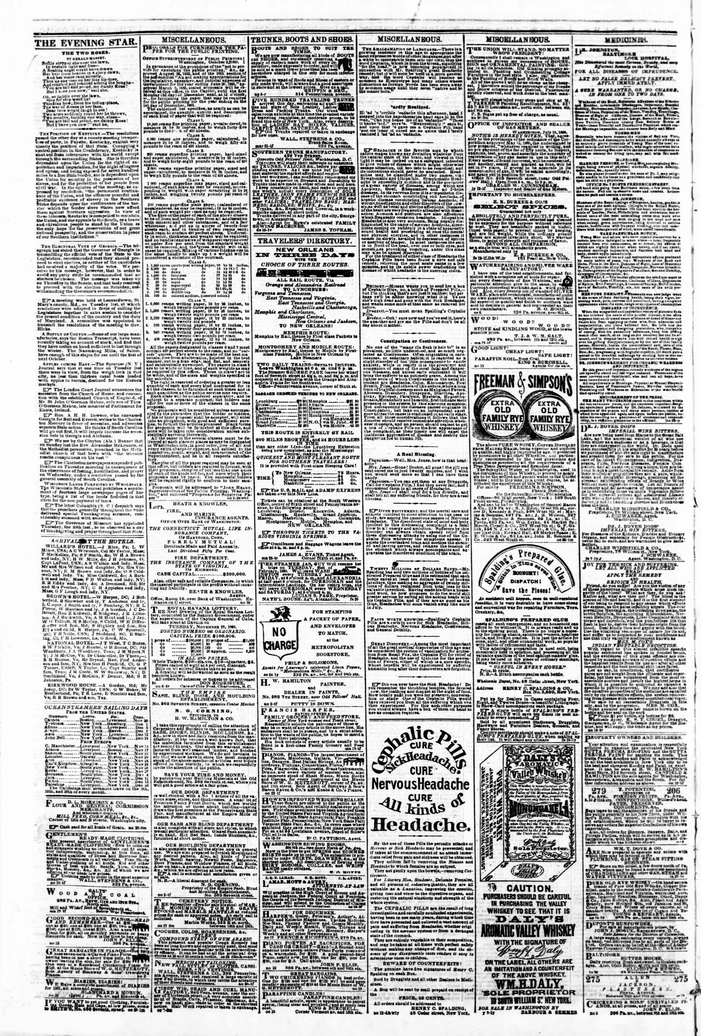 Newspaper of Evening Star dated November 27, 1860 Page 4