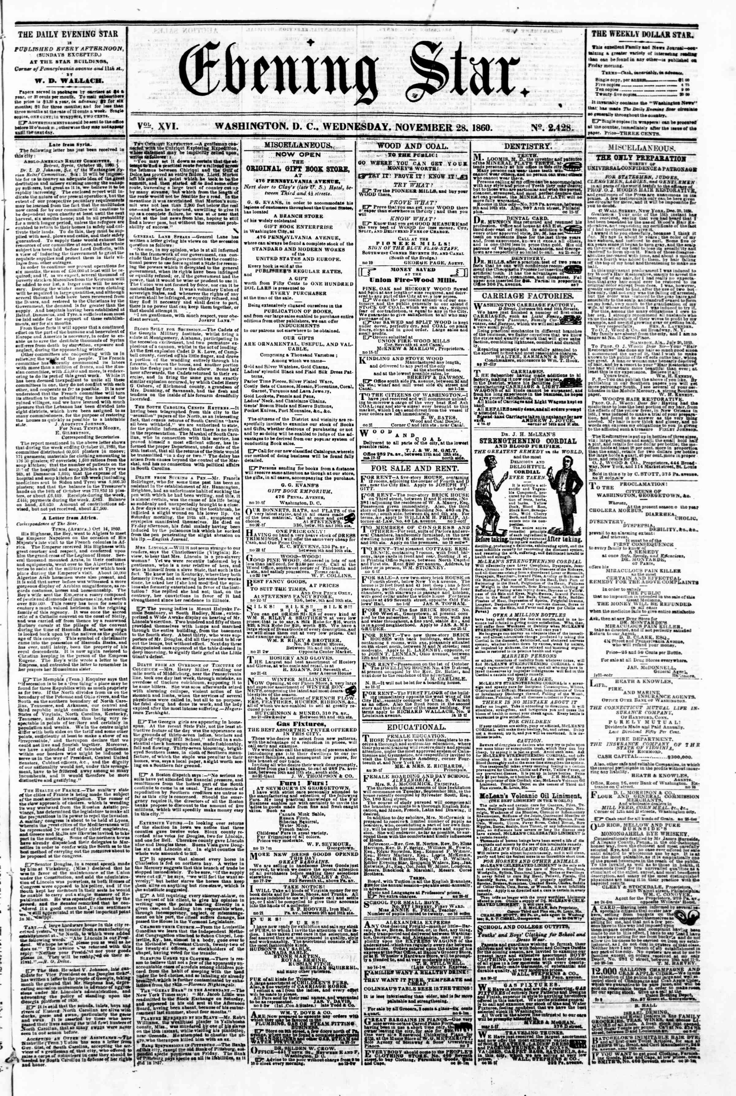 Newspaper of Evening Star dated November 28, 1860 Page 1