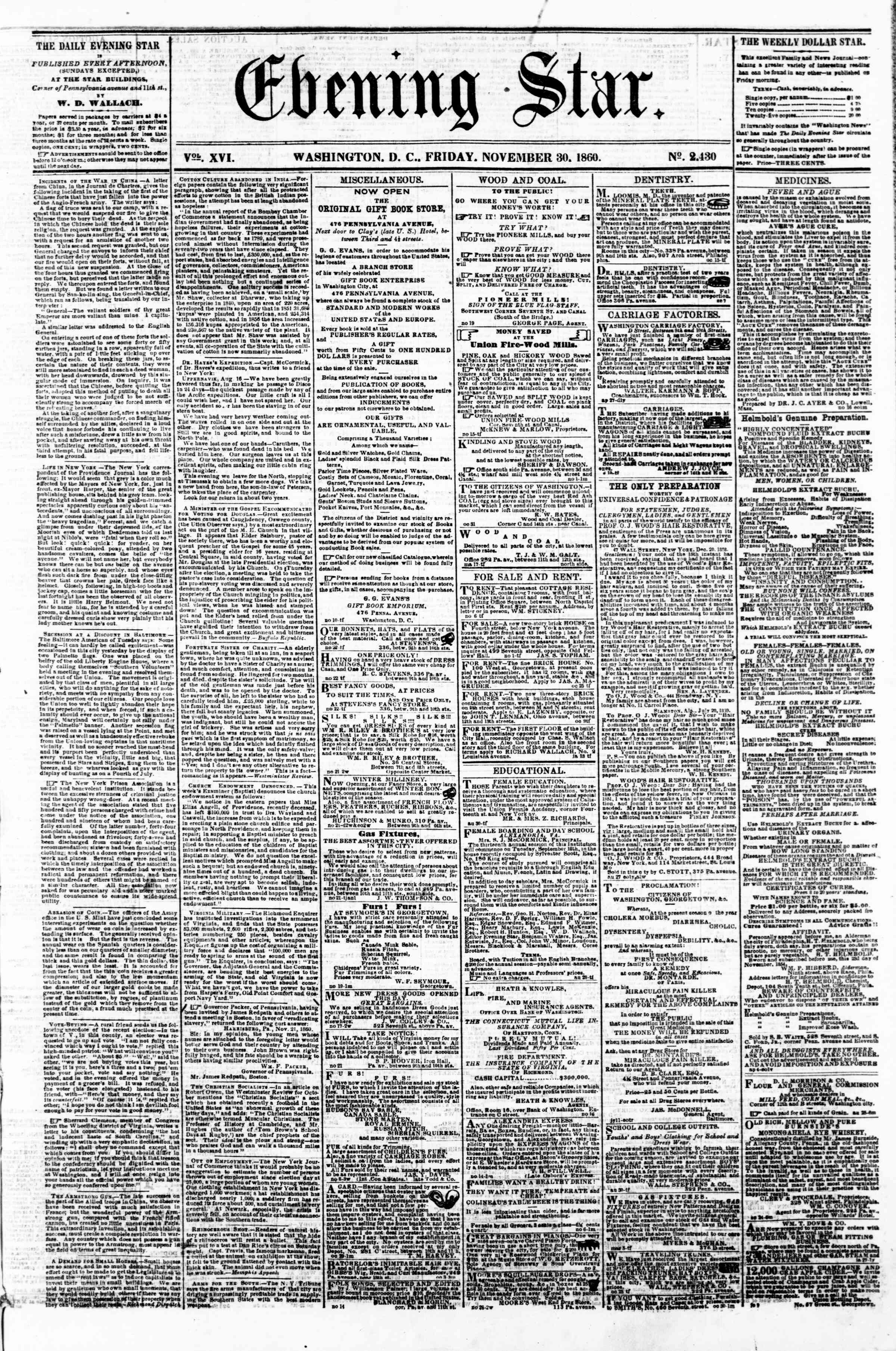 Newspaper of Evening Star dated November 30, 1860 Page 1