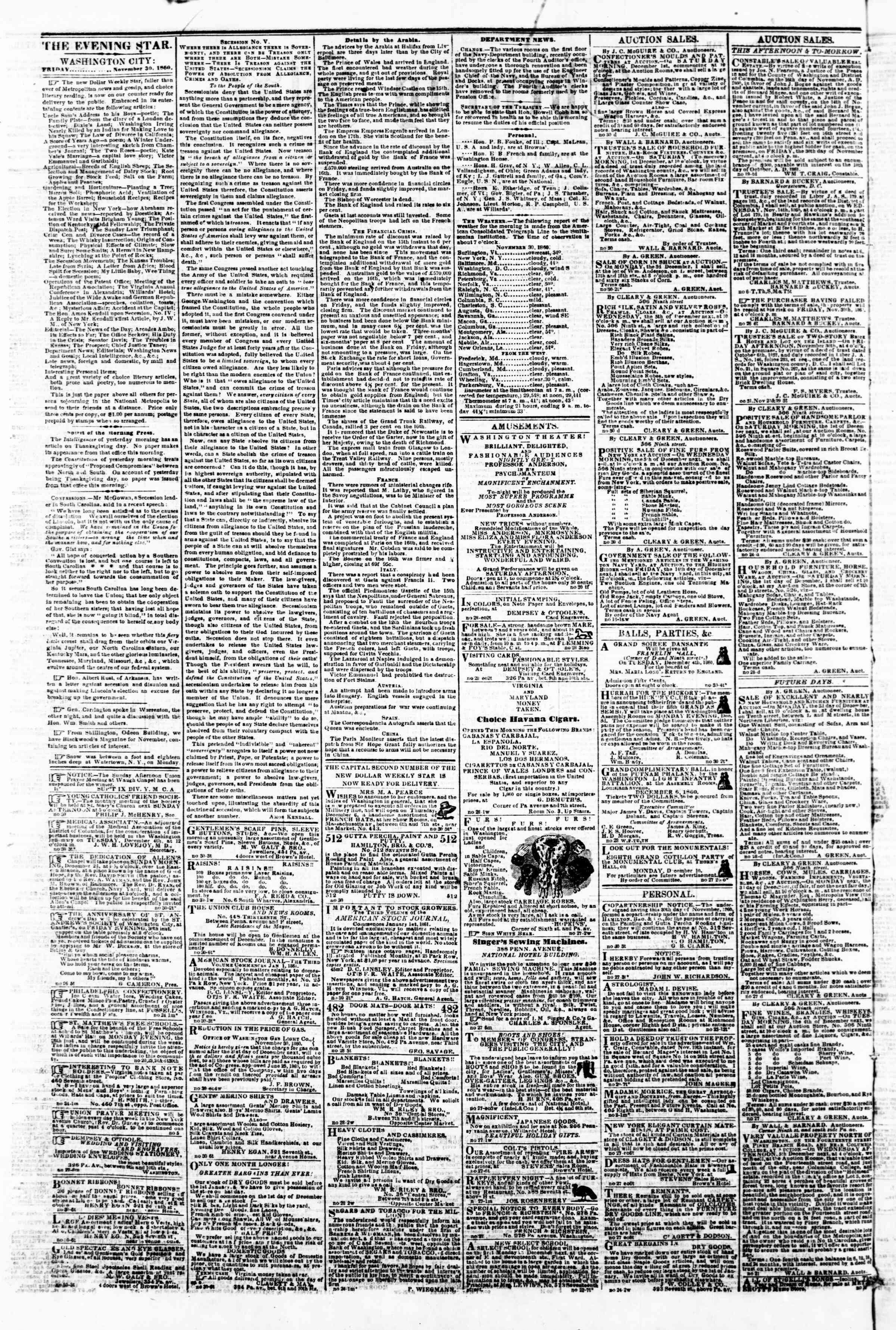 Newspaper of Evening Star dated November 30, 1860 Page 2