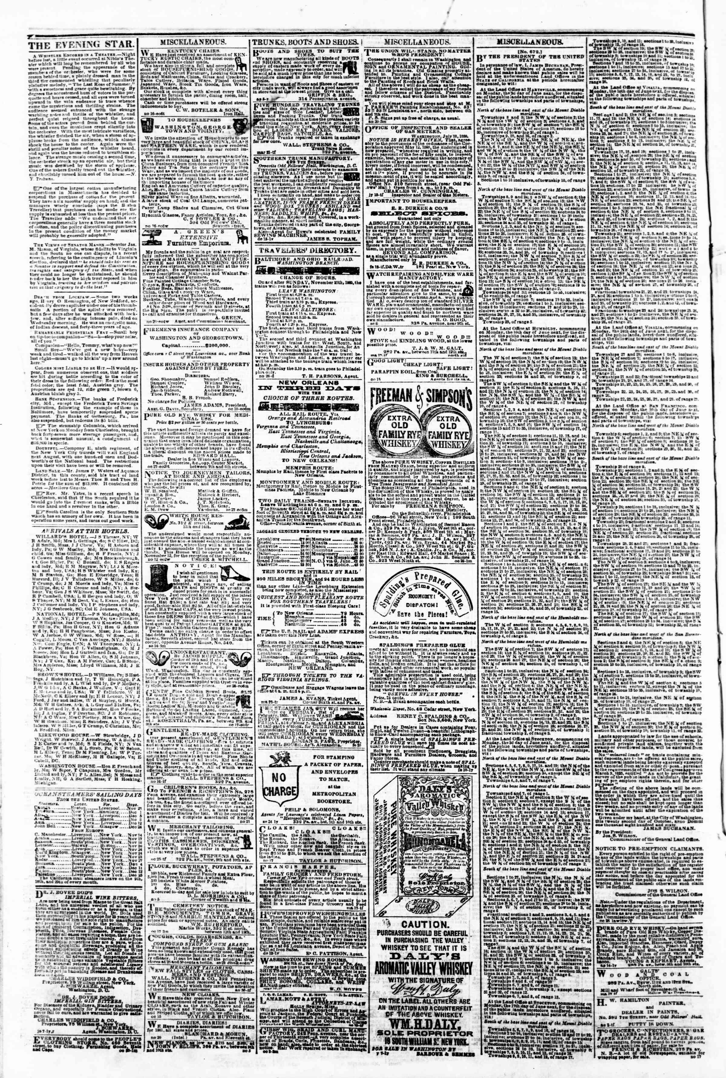 Newspaper of Evening Star dated November 30, 1860 Page 4