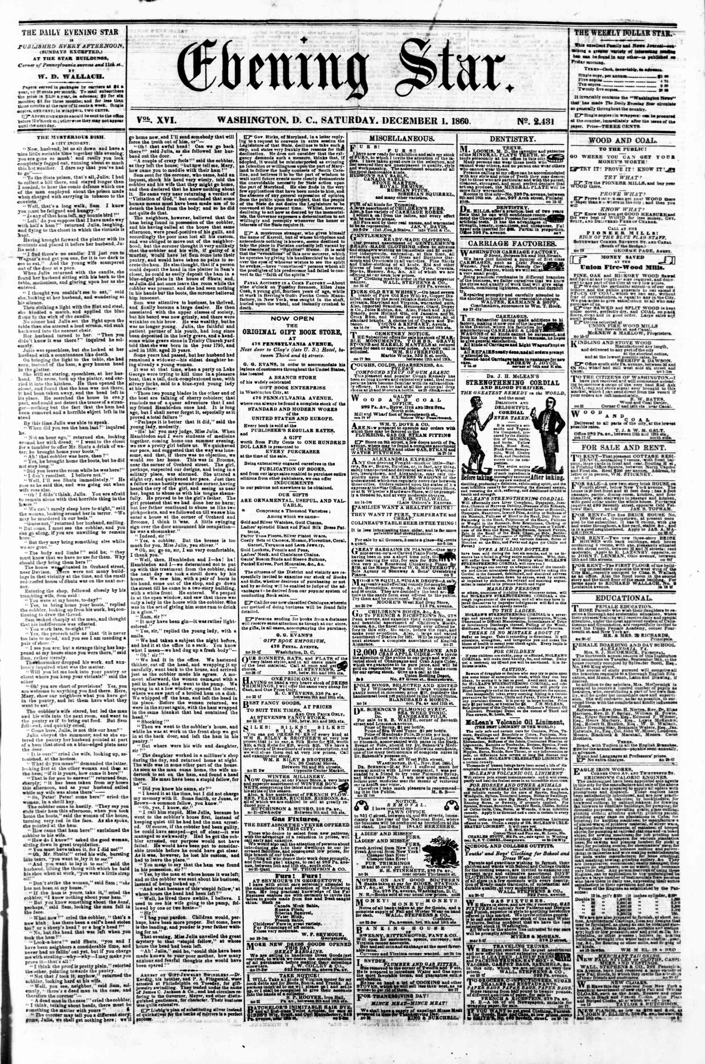Newspaper of Evening Star dated December 1, 1860 Page 1