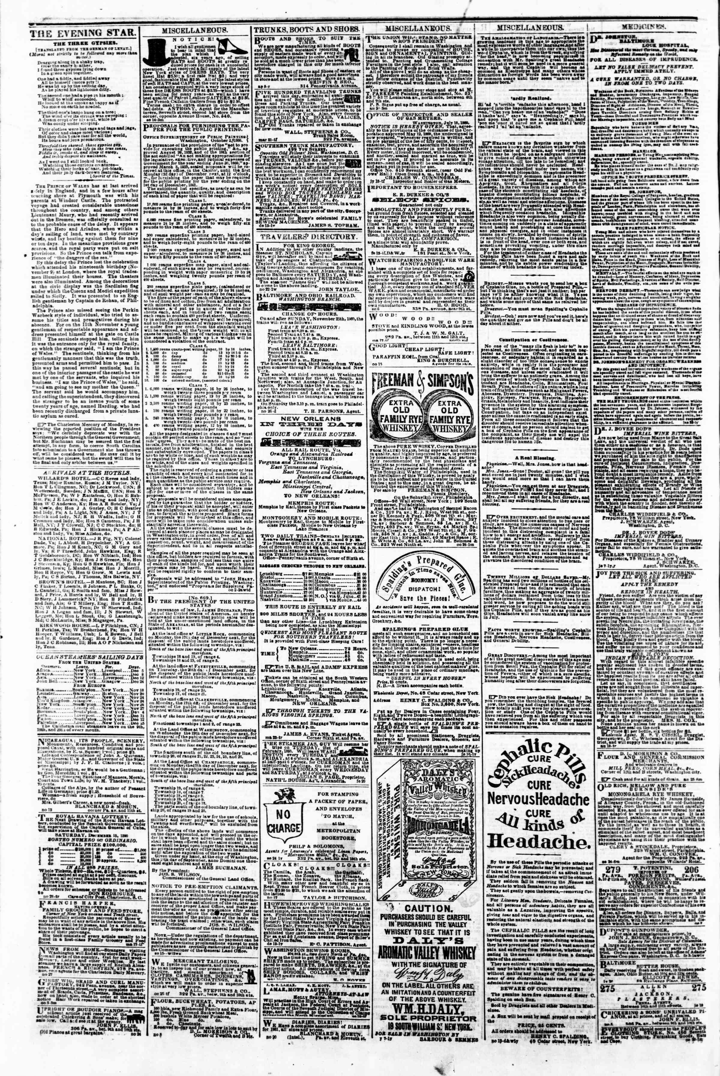 Newspaper of Evening Star dated December 1, 1860 Page 4